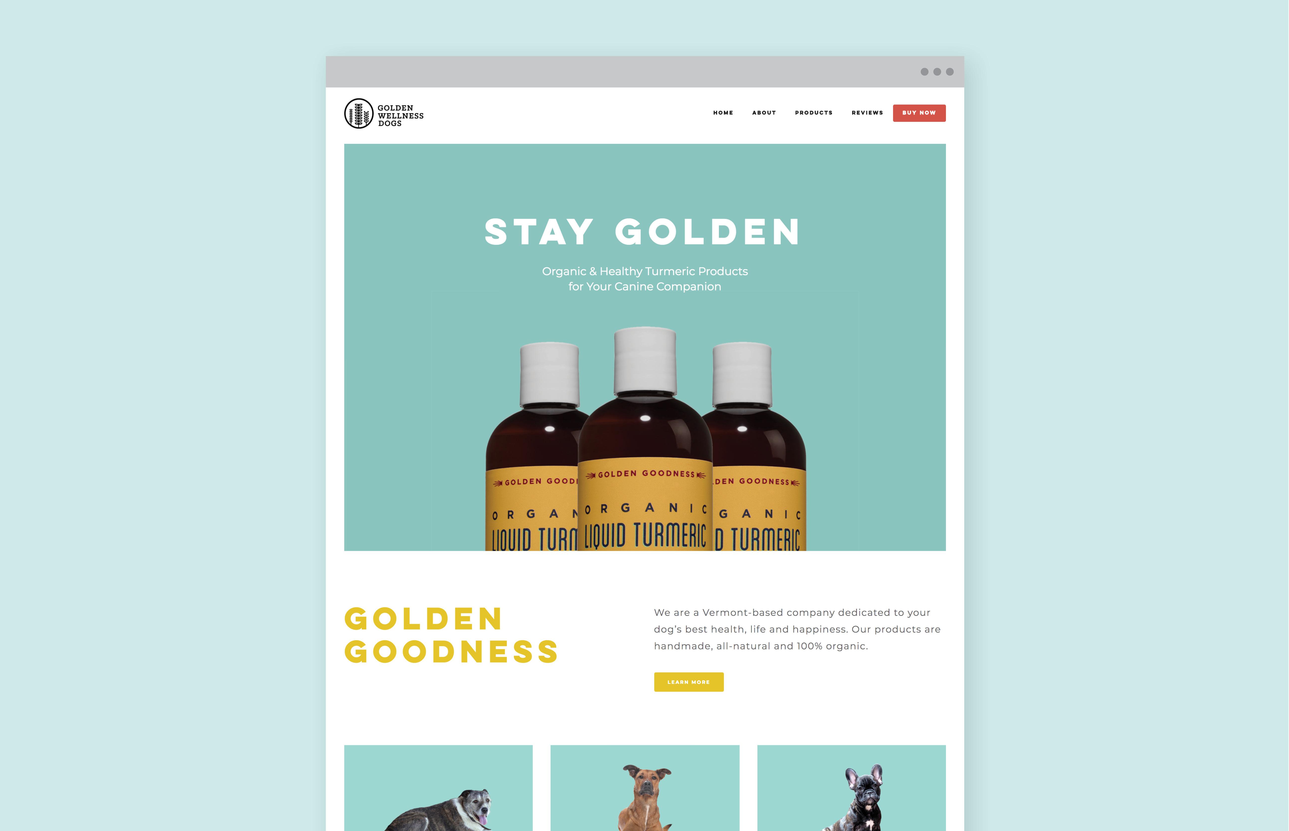Golden Wellness site displayed on desktop