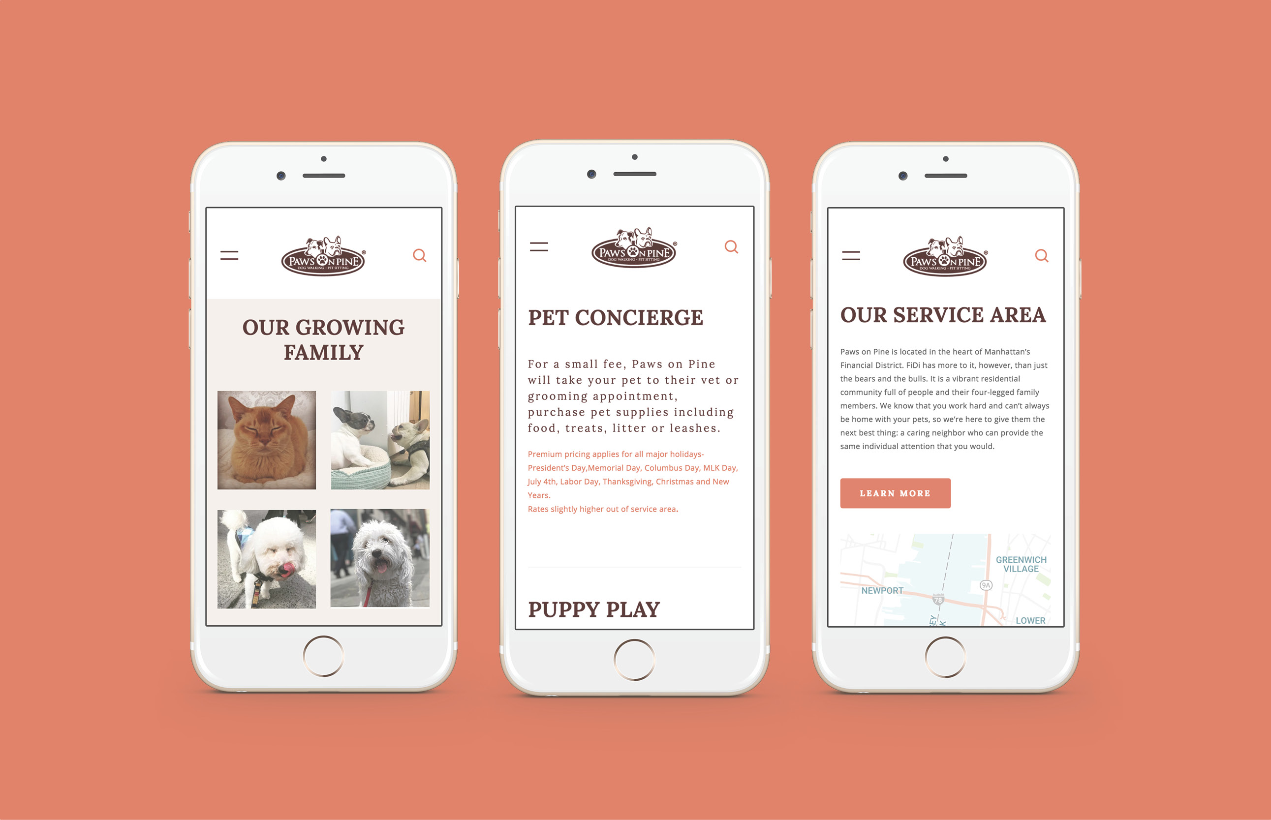 Paws On Pine responsive mobile site design