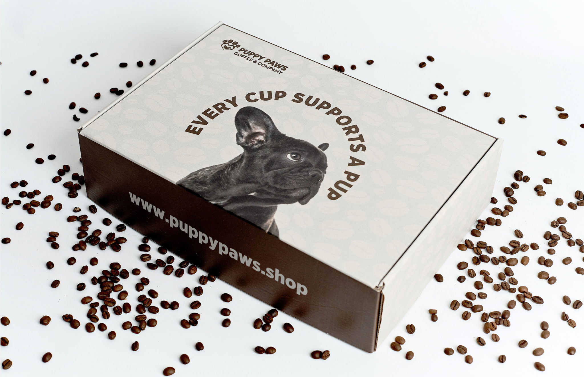Puppy Paws Coffee subscription box package design