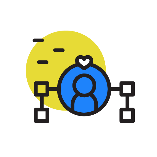 person with heart icon