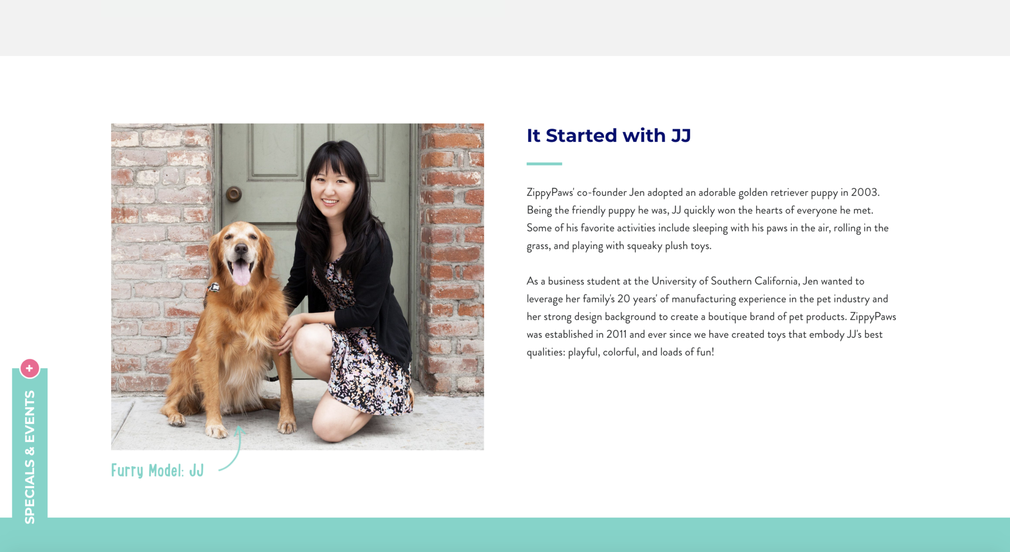 woman sitting next to dog on about page of website
