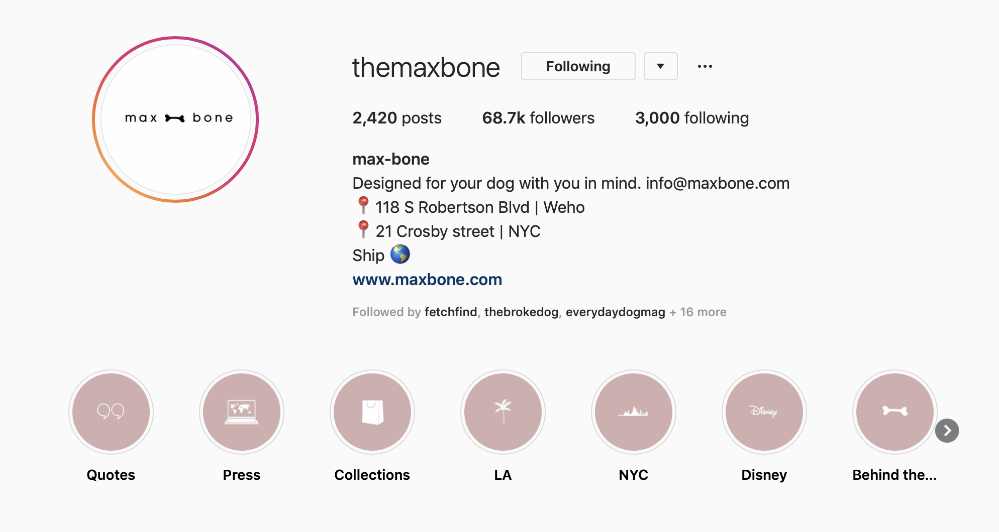 the max bone instagram page