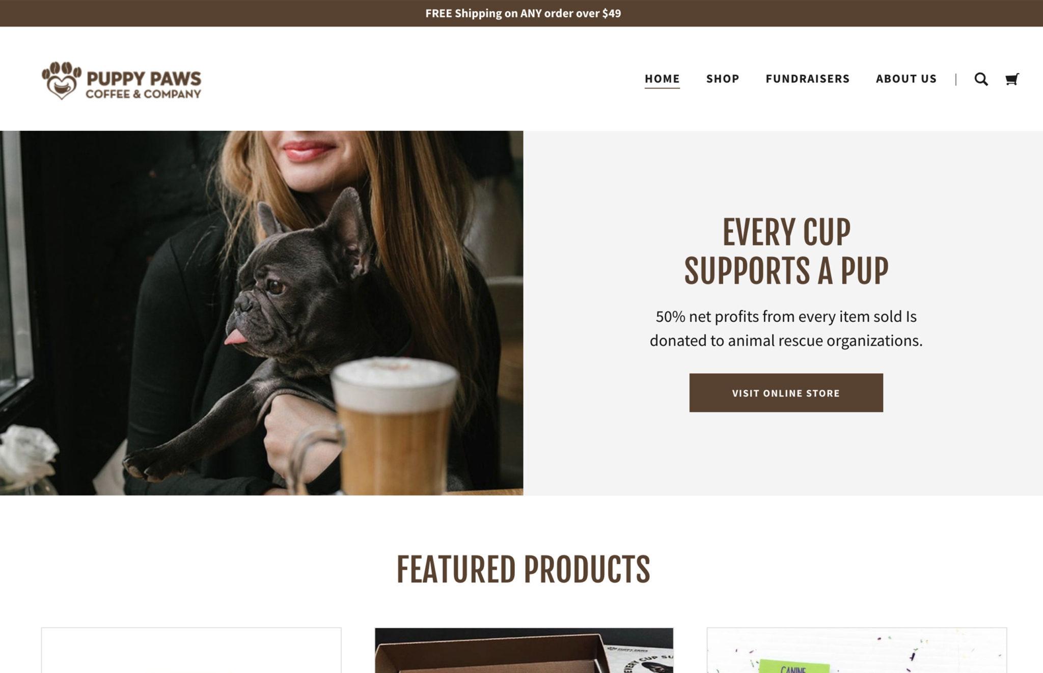 puppy paws website screenshot
