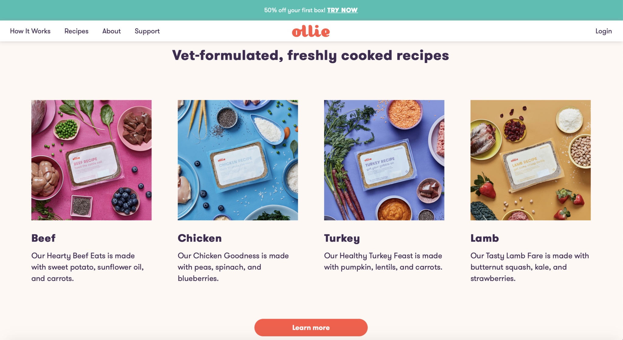 Ollie recipe page