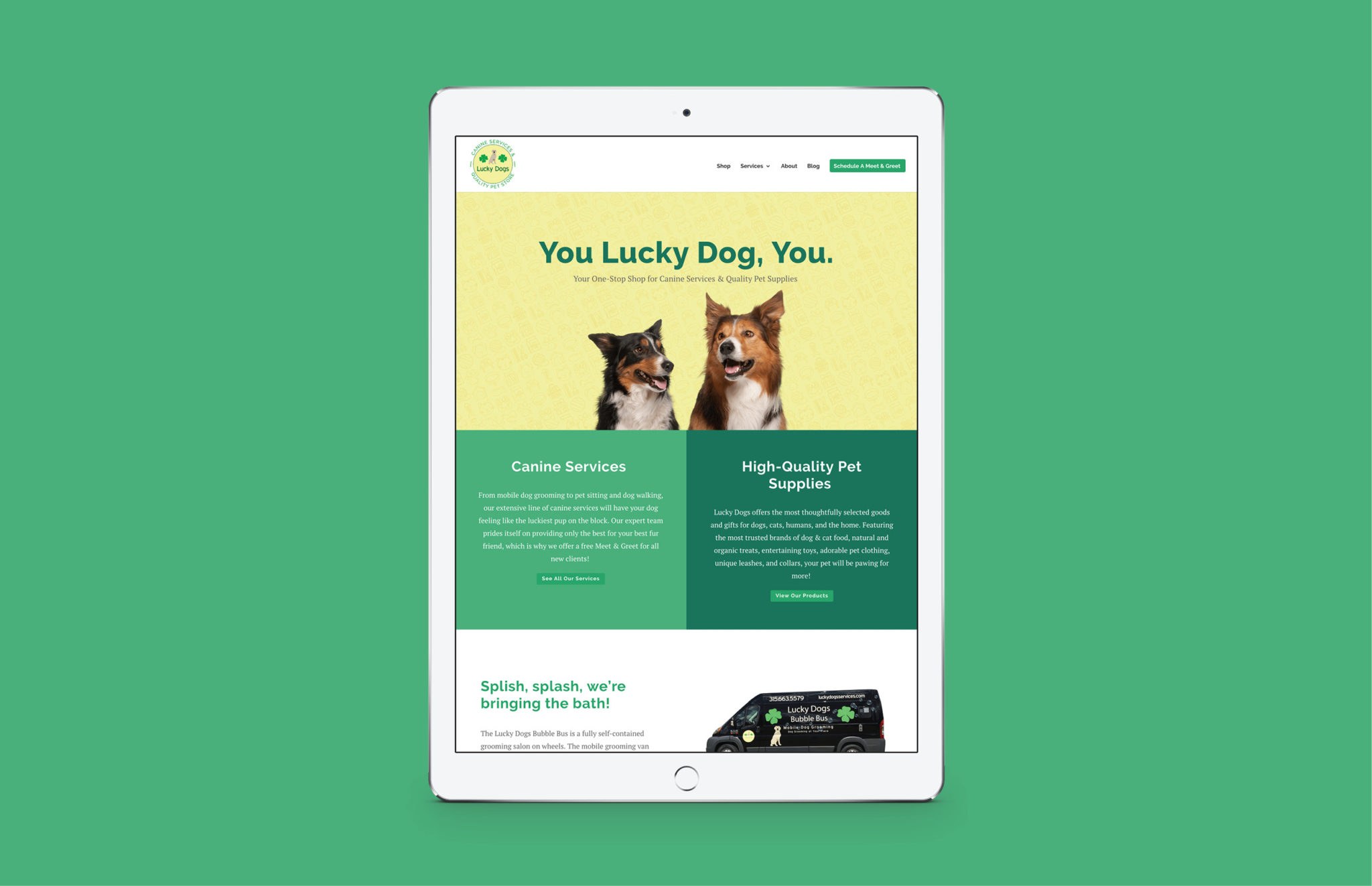 Lucky Dogs site displayed on tablet
