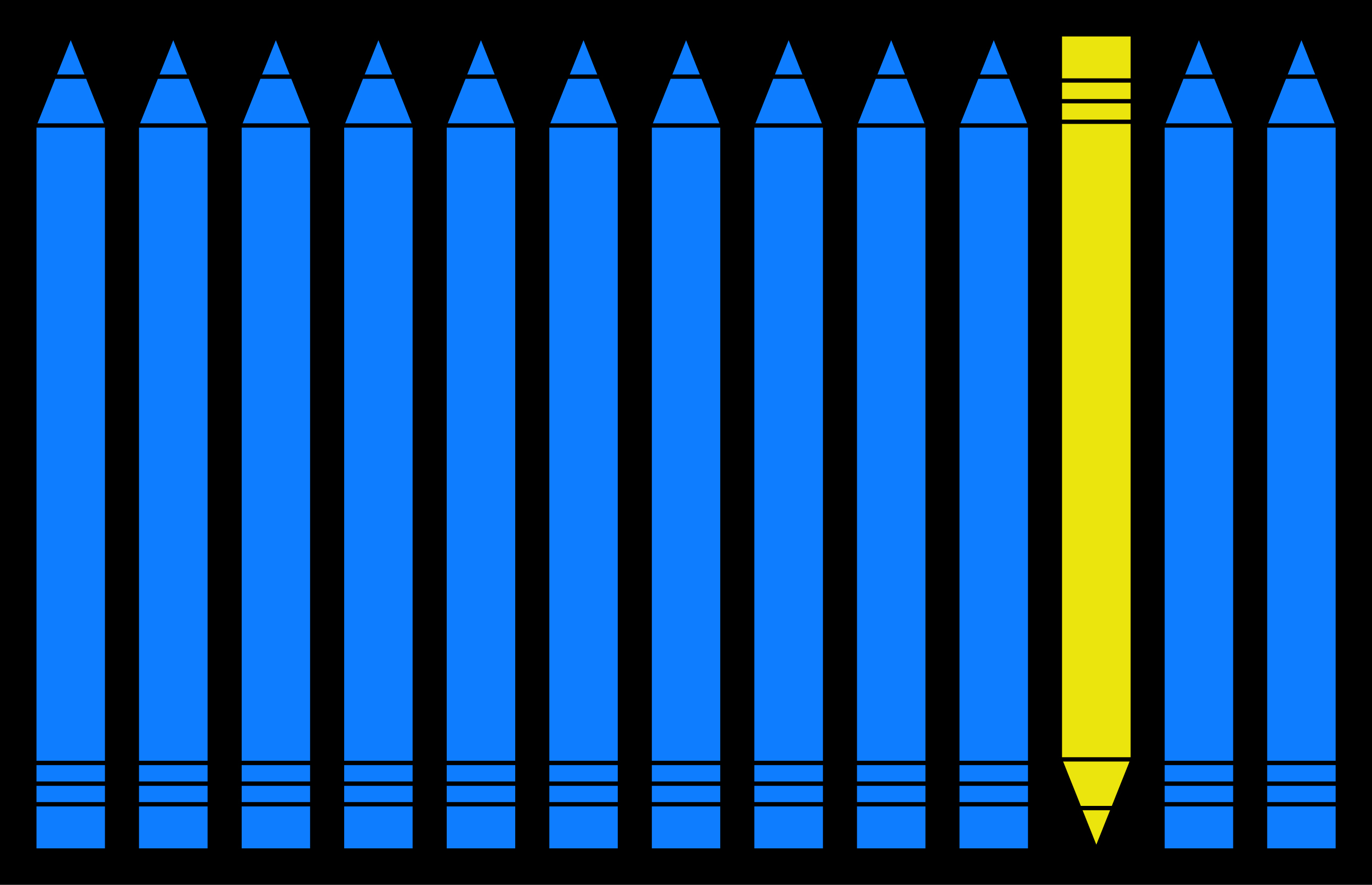 blue pencils with one yellow pencil