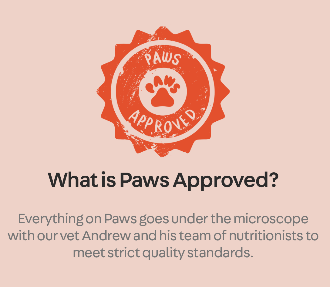 paws approved stamp with description