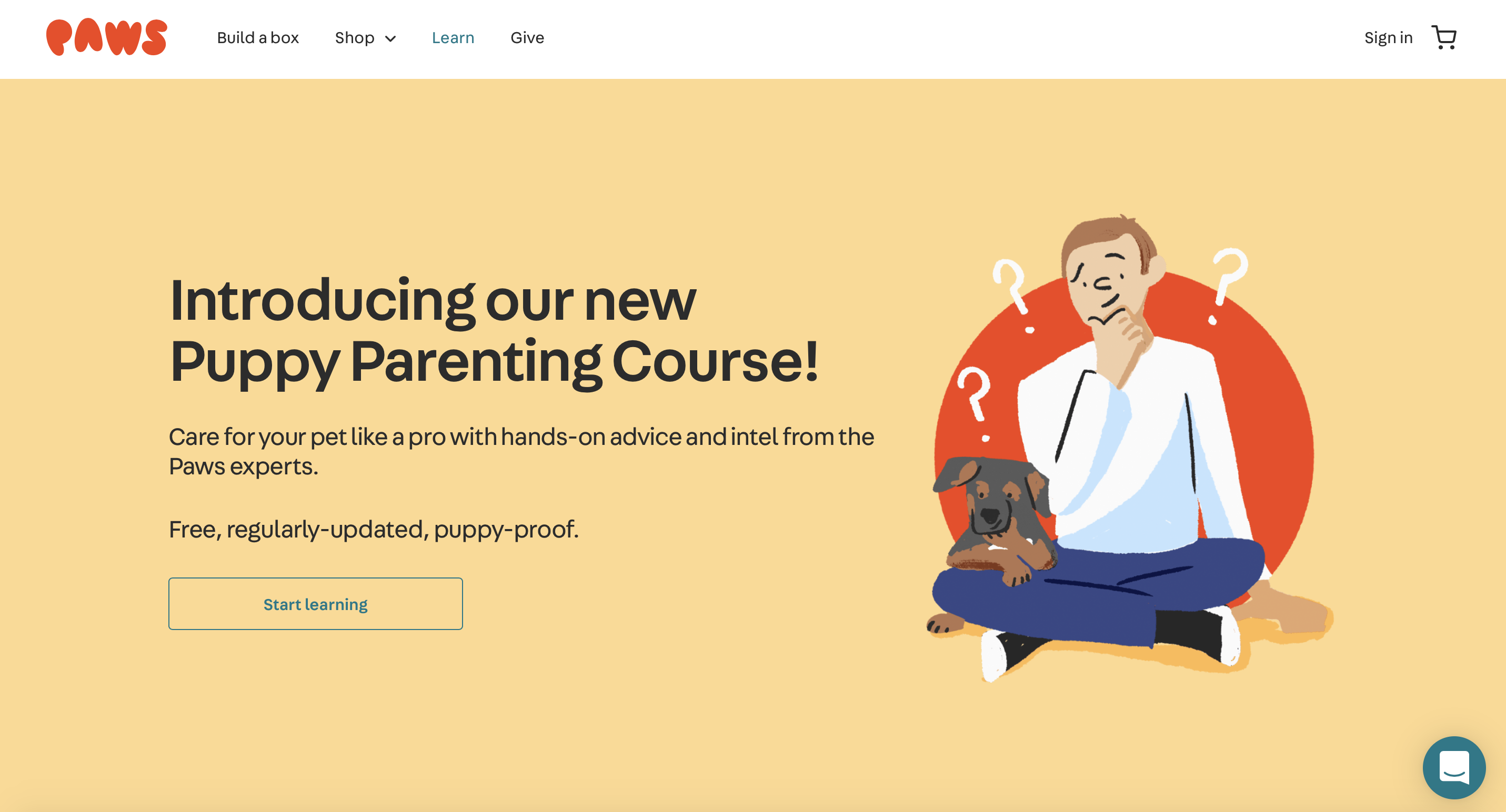 paws parenting course website page