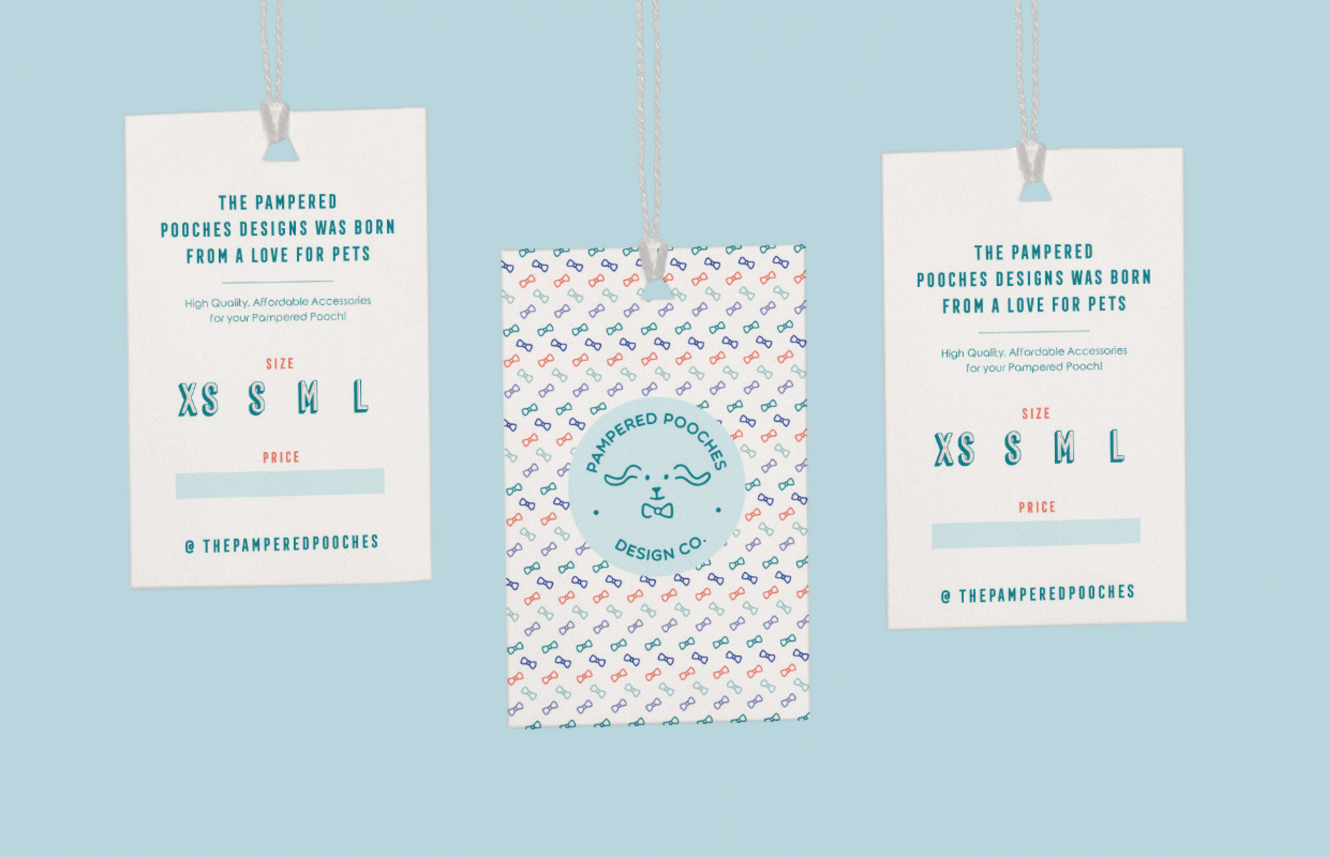 three designed product tags