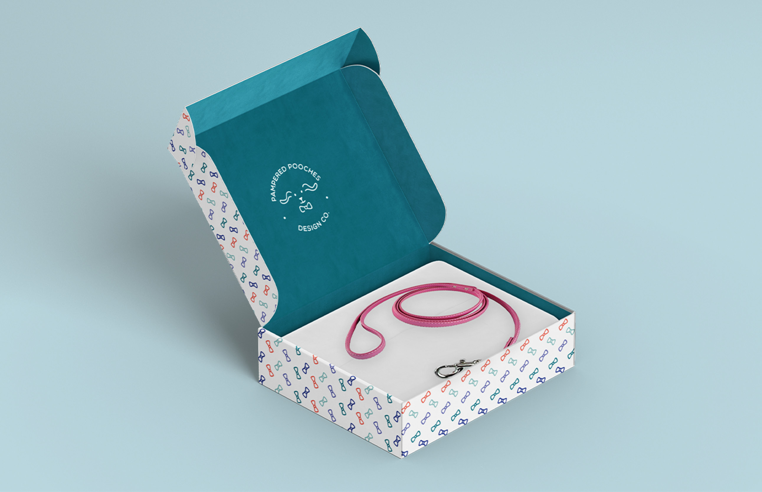open gift box with dog leash