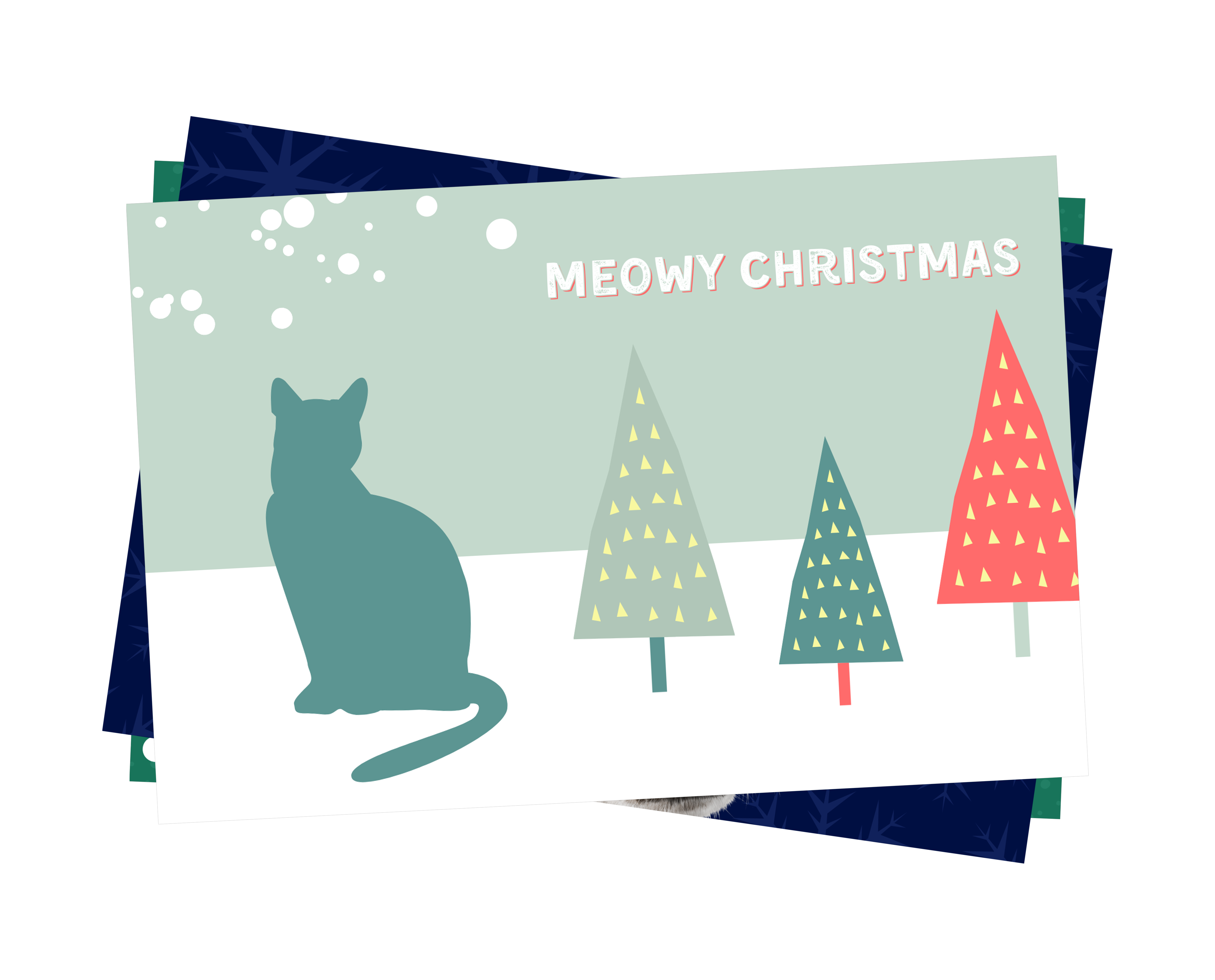 Meowy Christmas with cat illustration