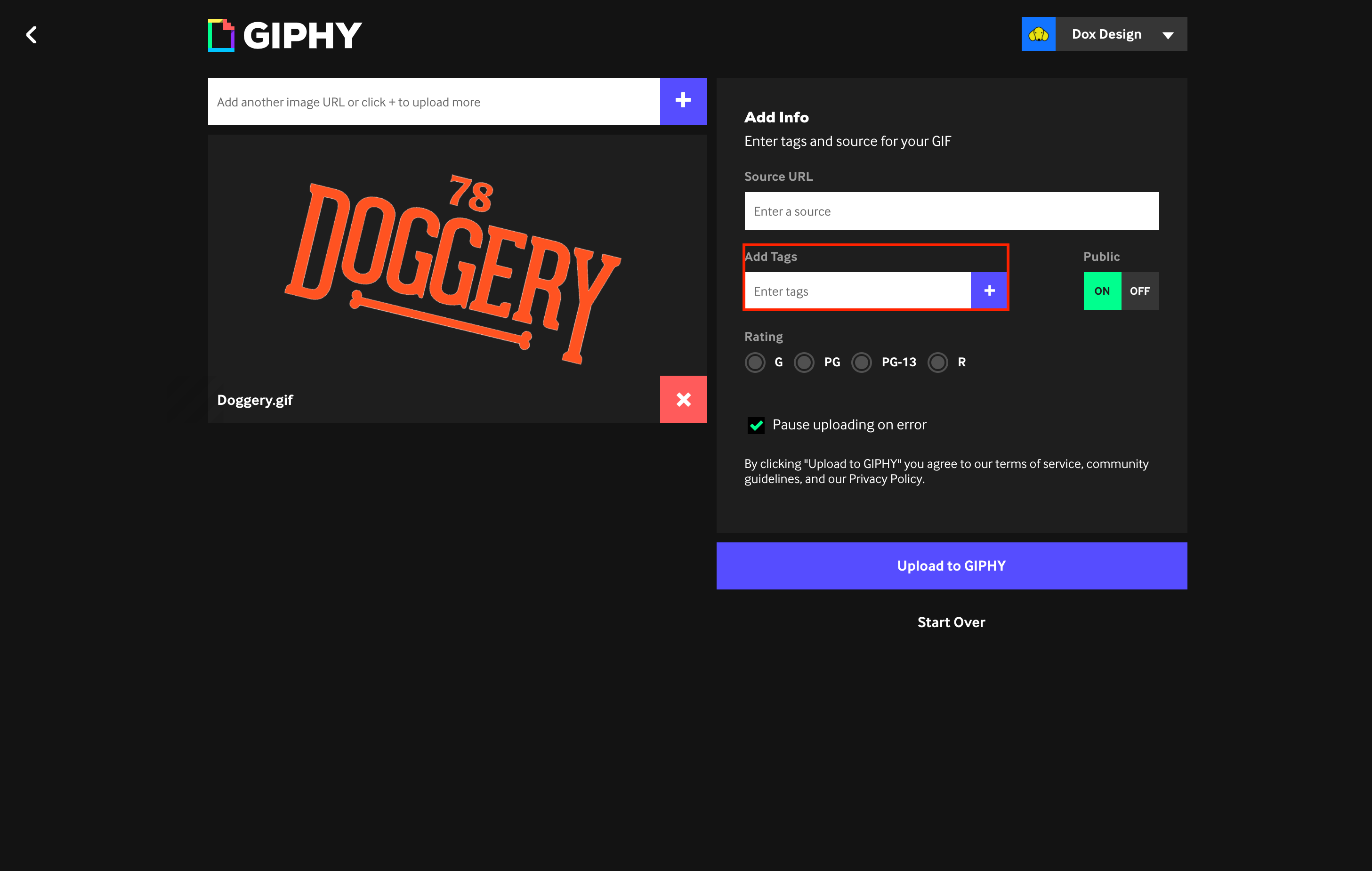 uploaded gif image with options on website