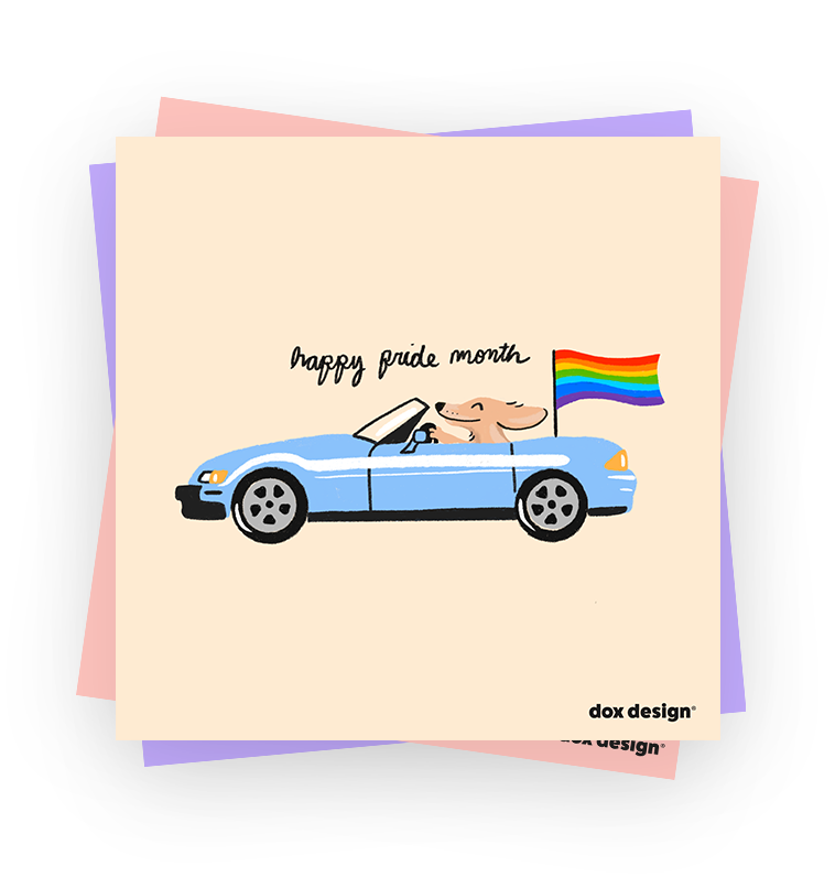 Happy Pride Month text with dog driving a convertible
