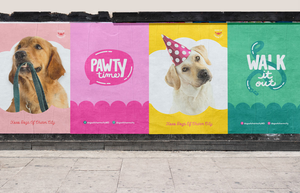 four dog posters on a city building wall