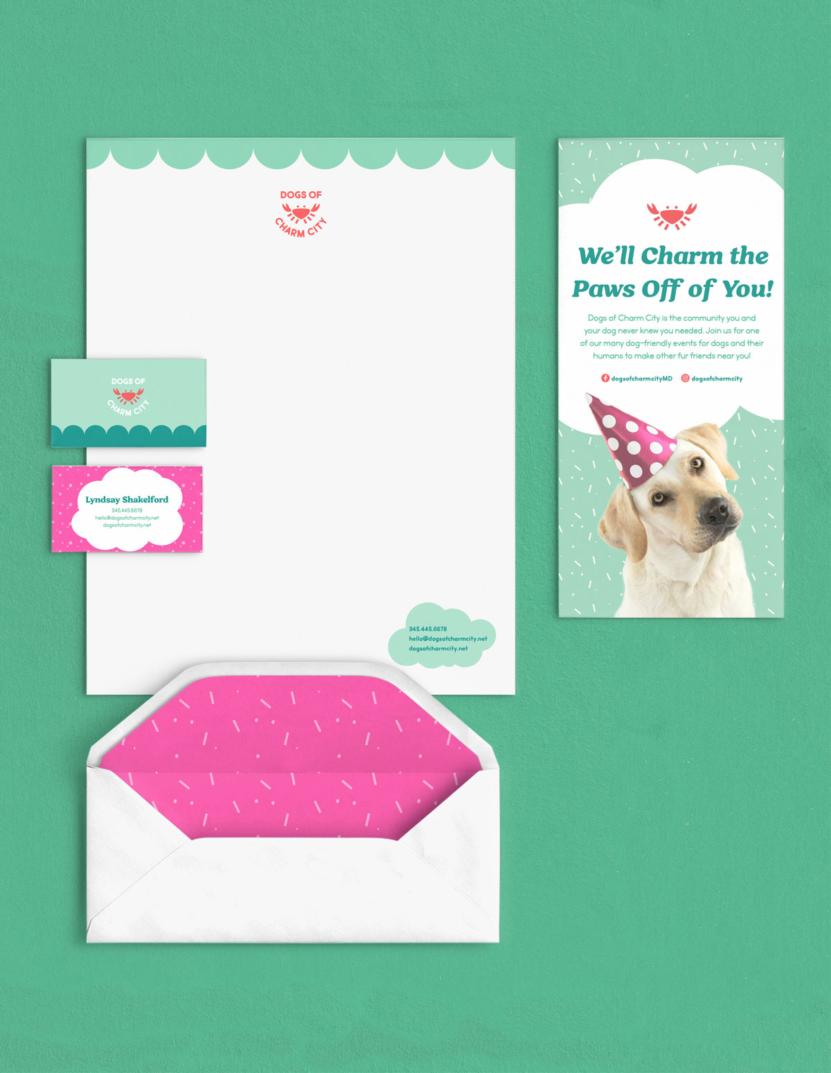 Dogs of Charm City letterhead, brochure, business cards, and envelope