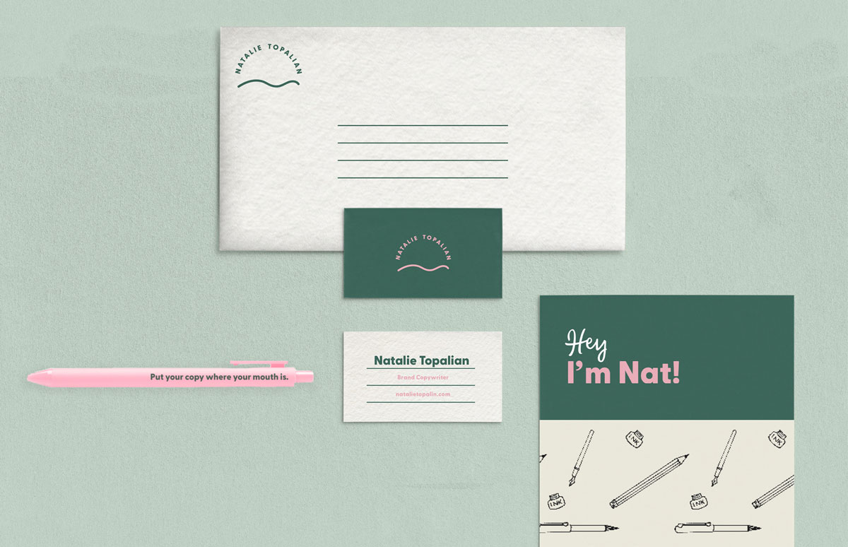 custom stationary, envelope, business card, and pen