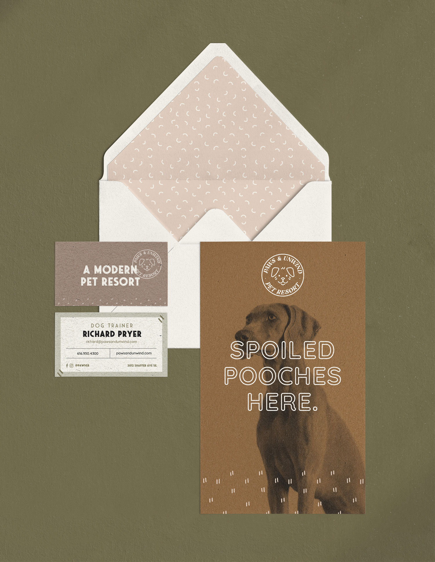 custom flyer, envelope, and business cards