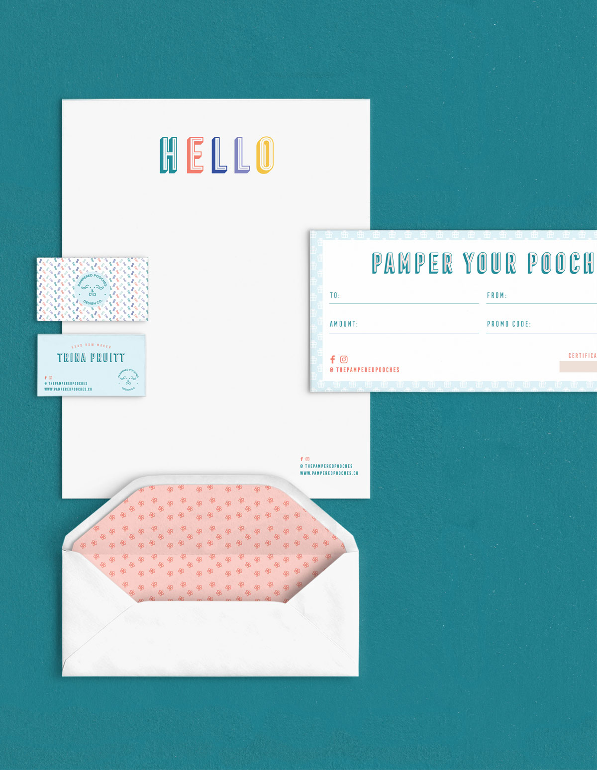 stationary, business cards, envelope, and brochure