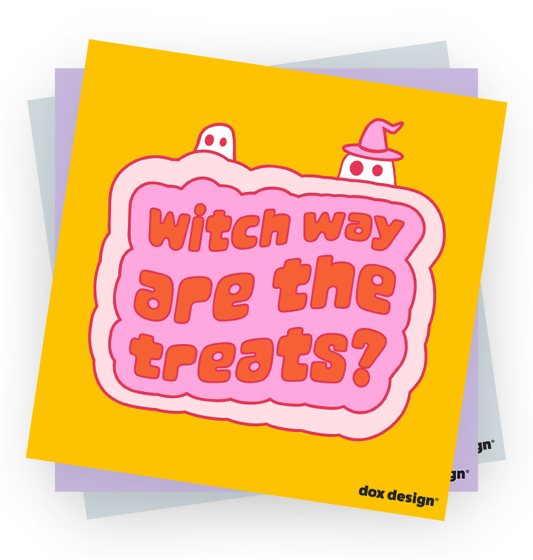 red and pink text saying Witch way are the treats?
