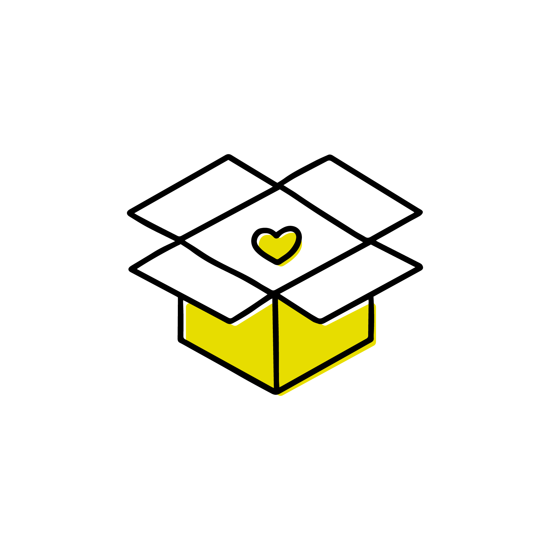 open box with heart icon