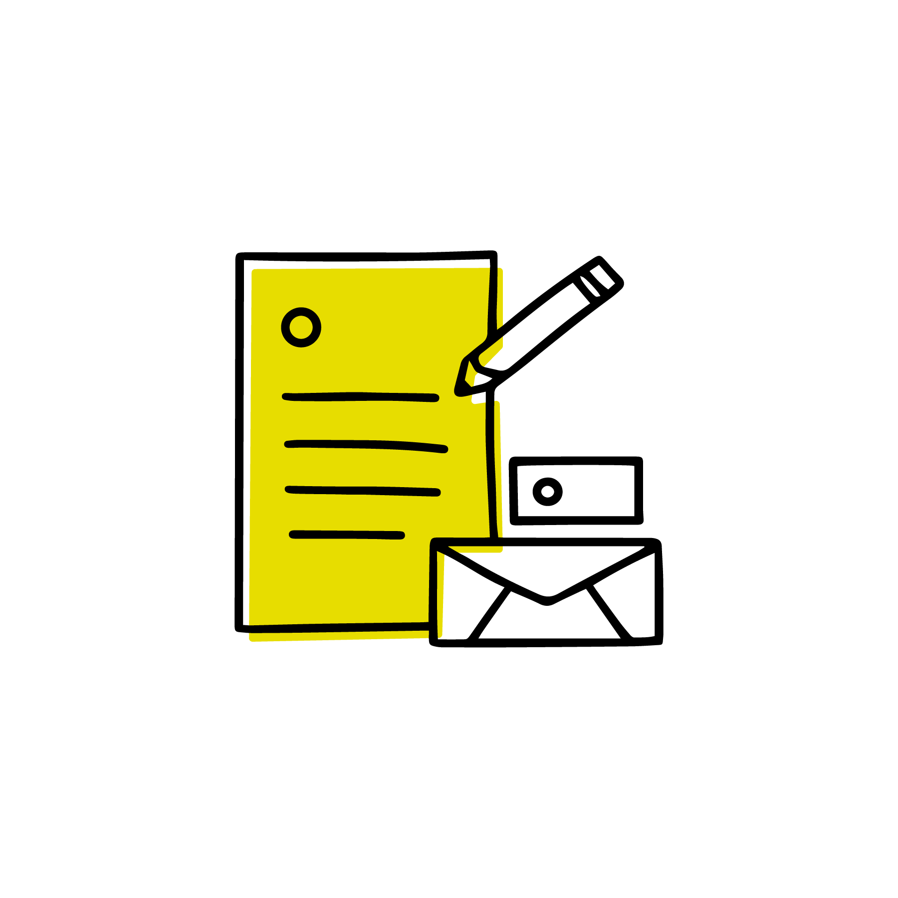 stationary, pencil, business card, envelope icon