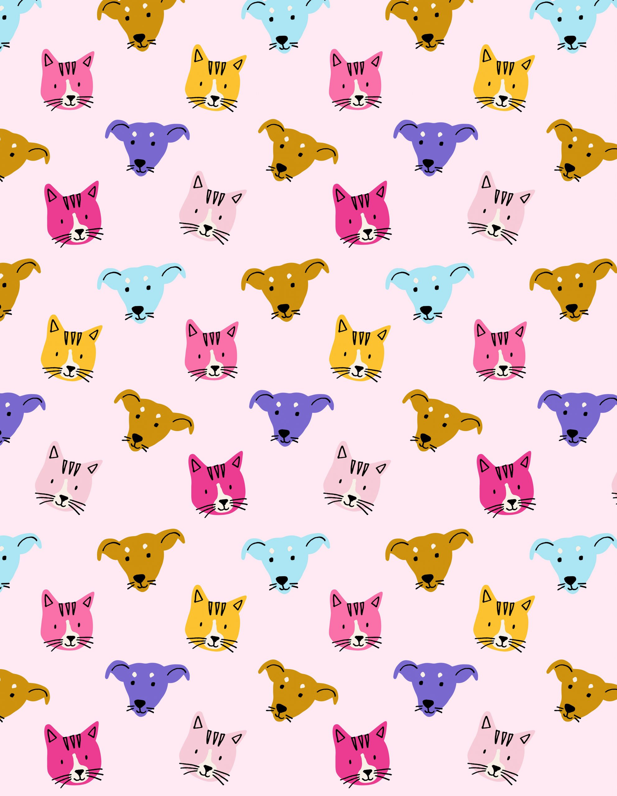 illustrated colorful dog head pattern