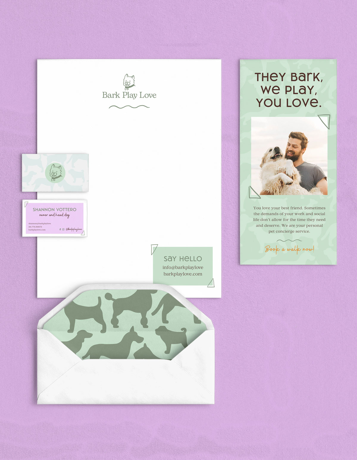 Bark Play Love stationary, business card, envelope, and brochure mockup