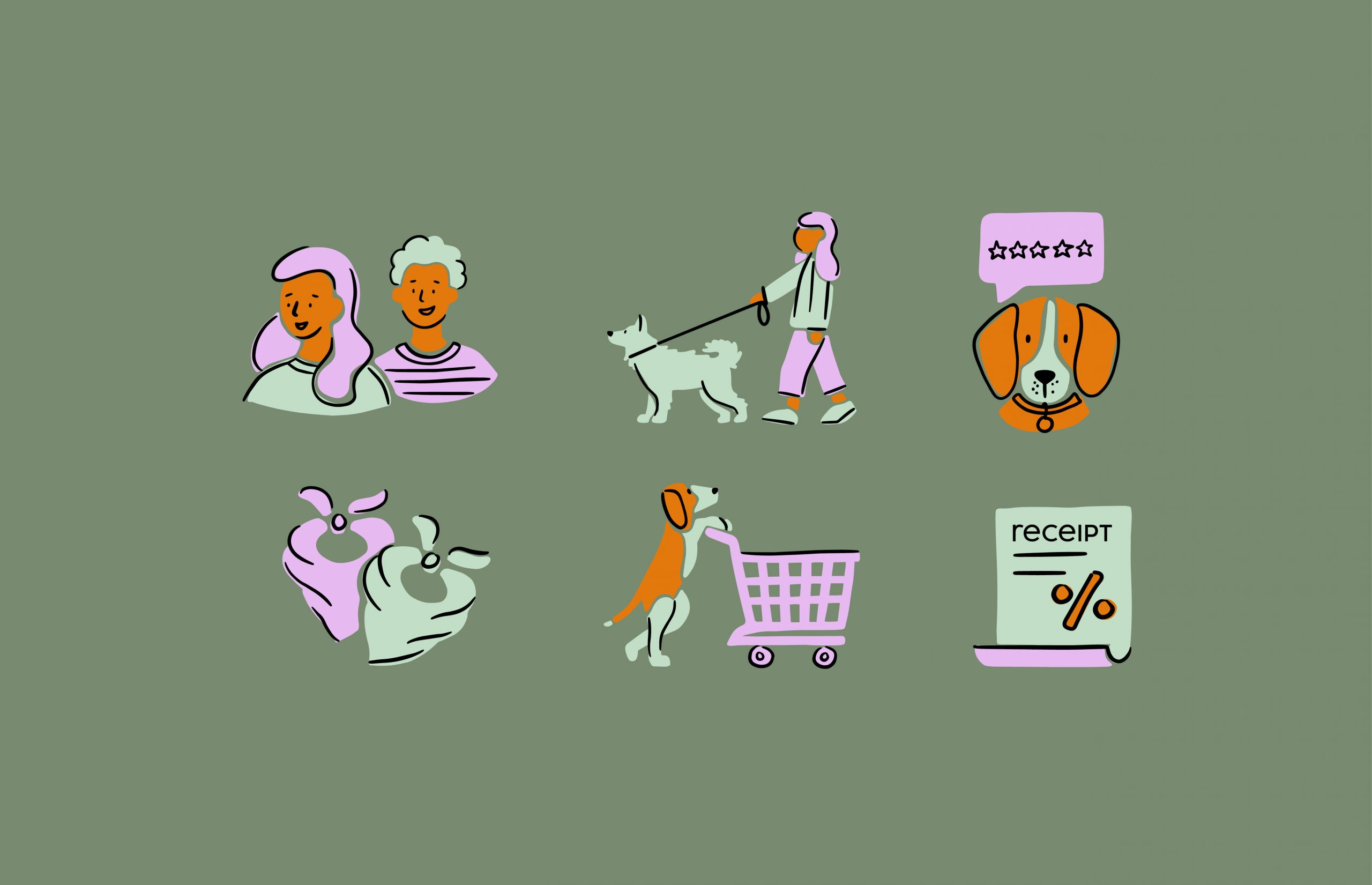 smiling people icon, walking dog icon, dog rating icon, bandana icon, shopping cart icon, receipt icon