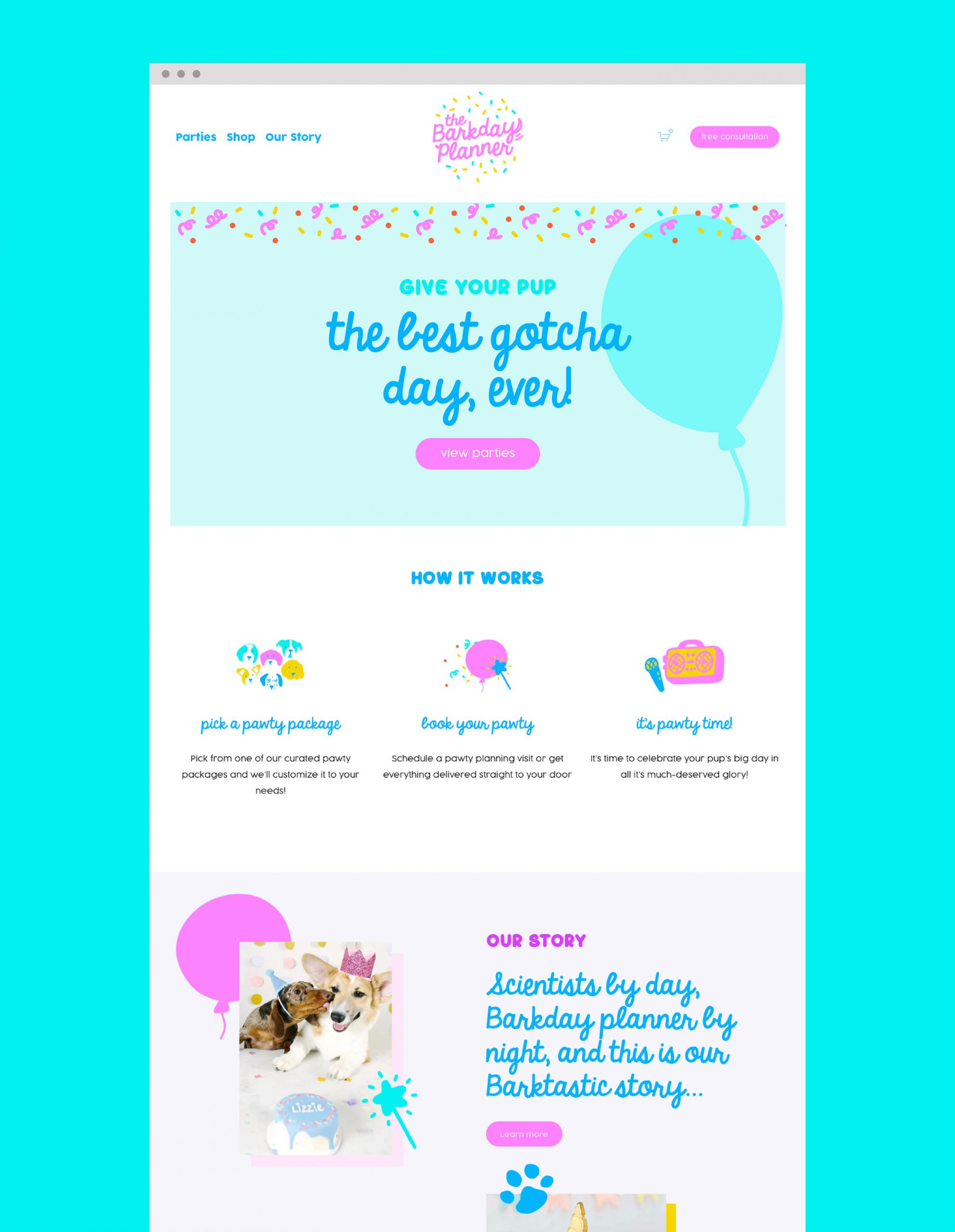 The Barkday Planner website