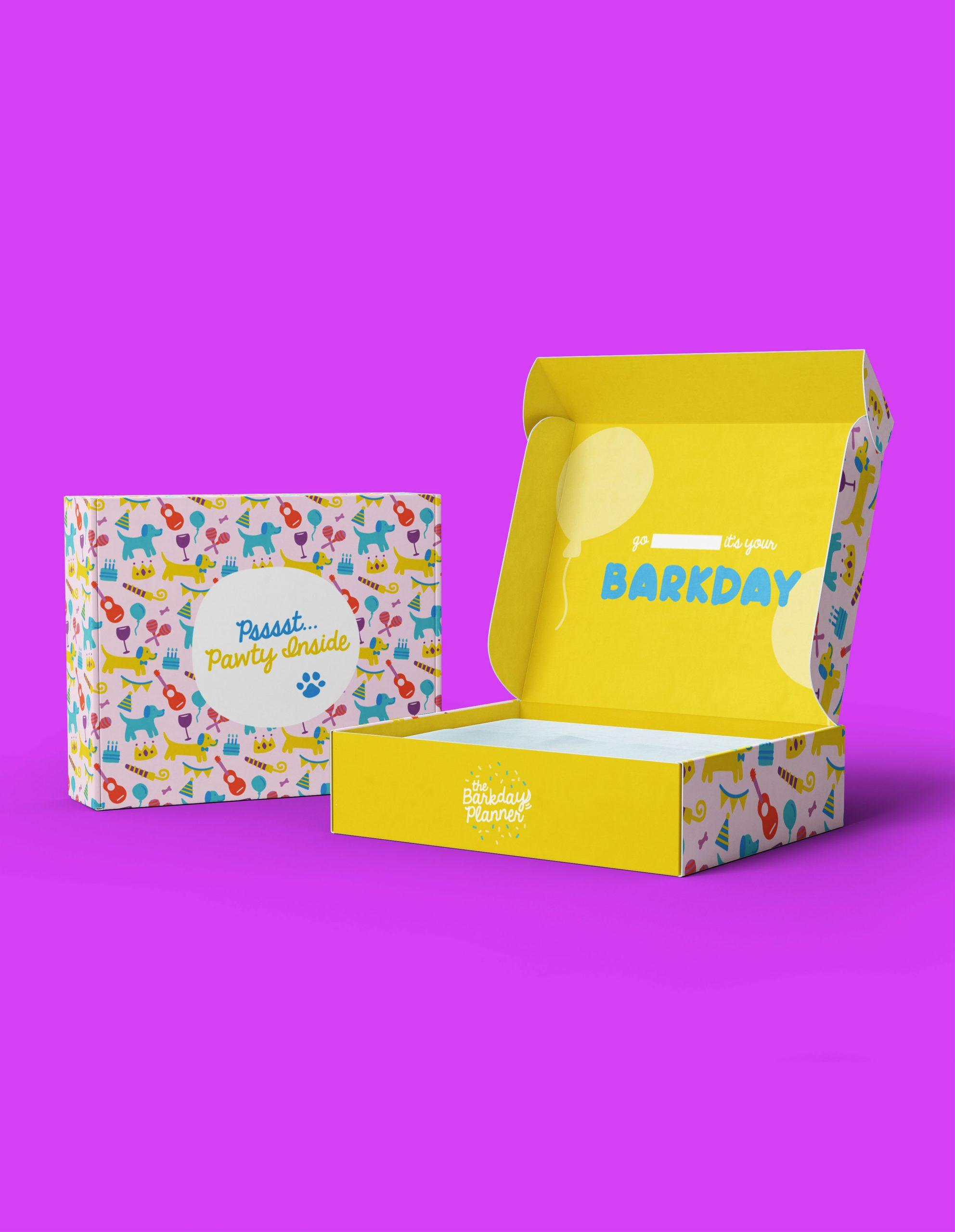bark day yellow gift box