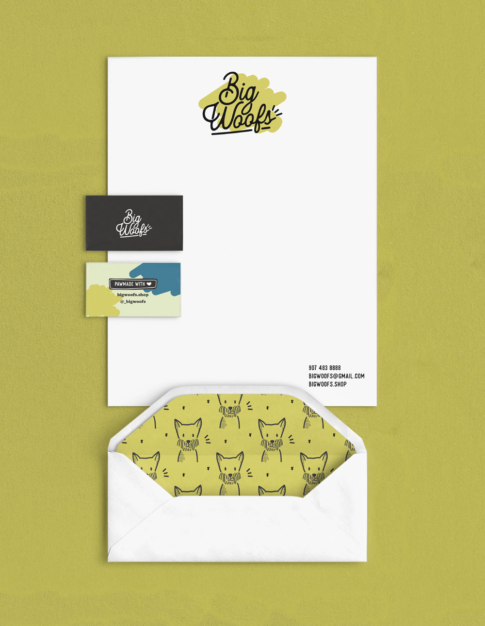Big Woofs stationary, business card, and envelope
