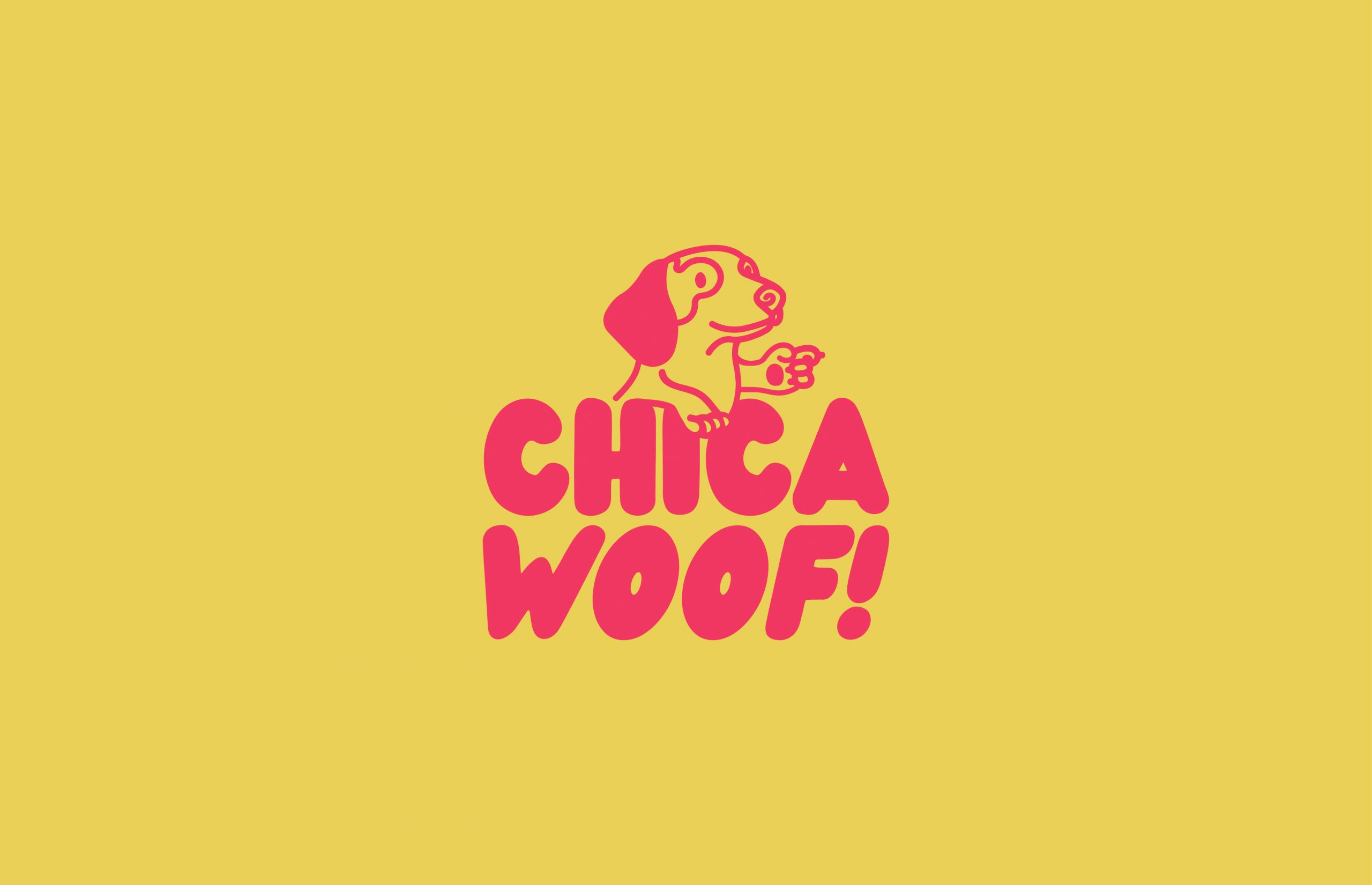 pink Chica Woof logo on yellow background
