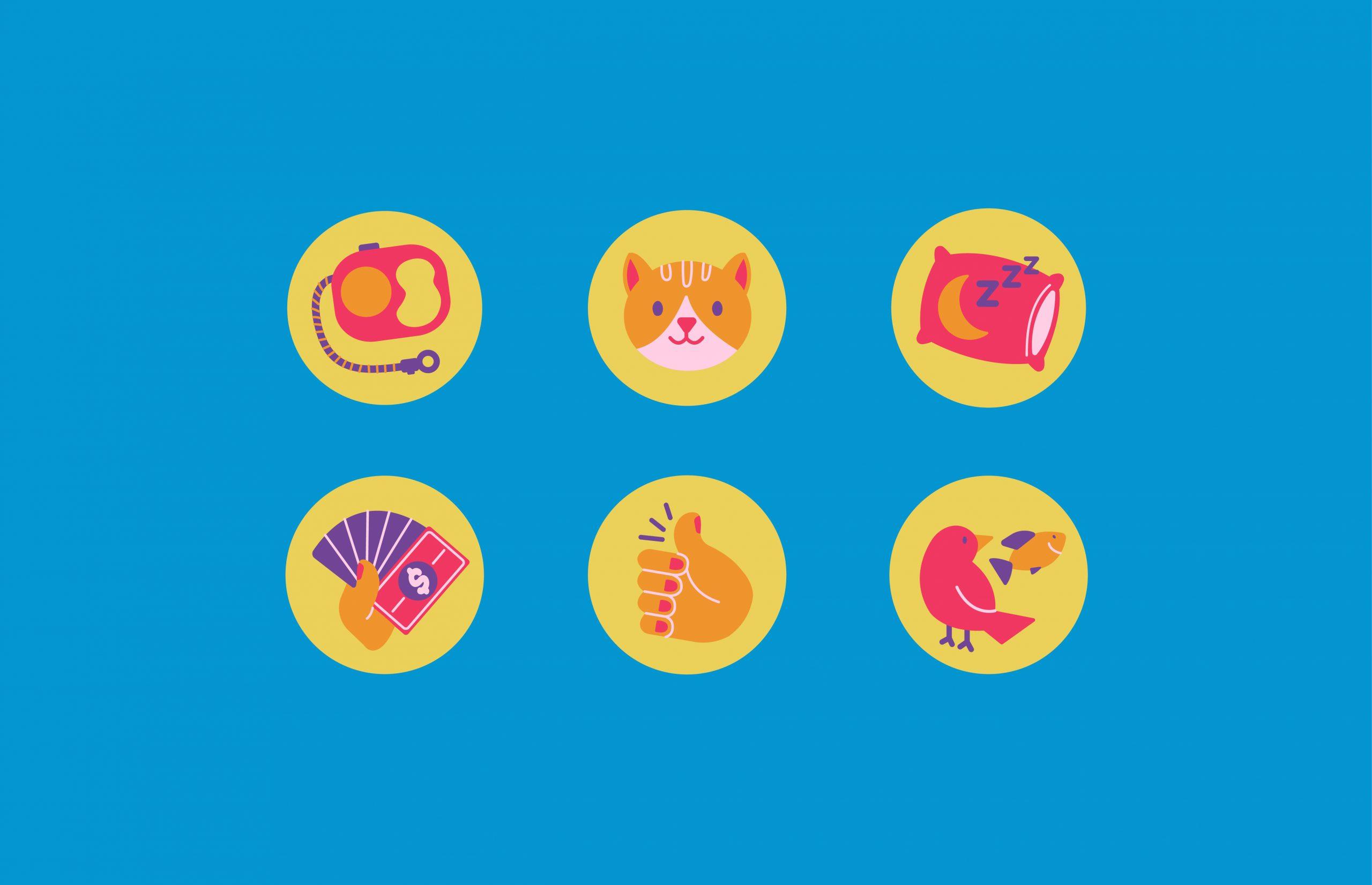 leash icon, cat icon, sleep icon, money icon, hand icon, bird icon
