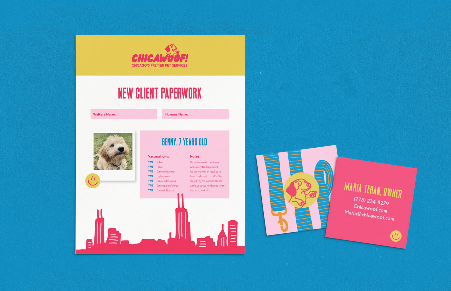 pink and yellow Chica woof client paperwork template