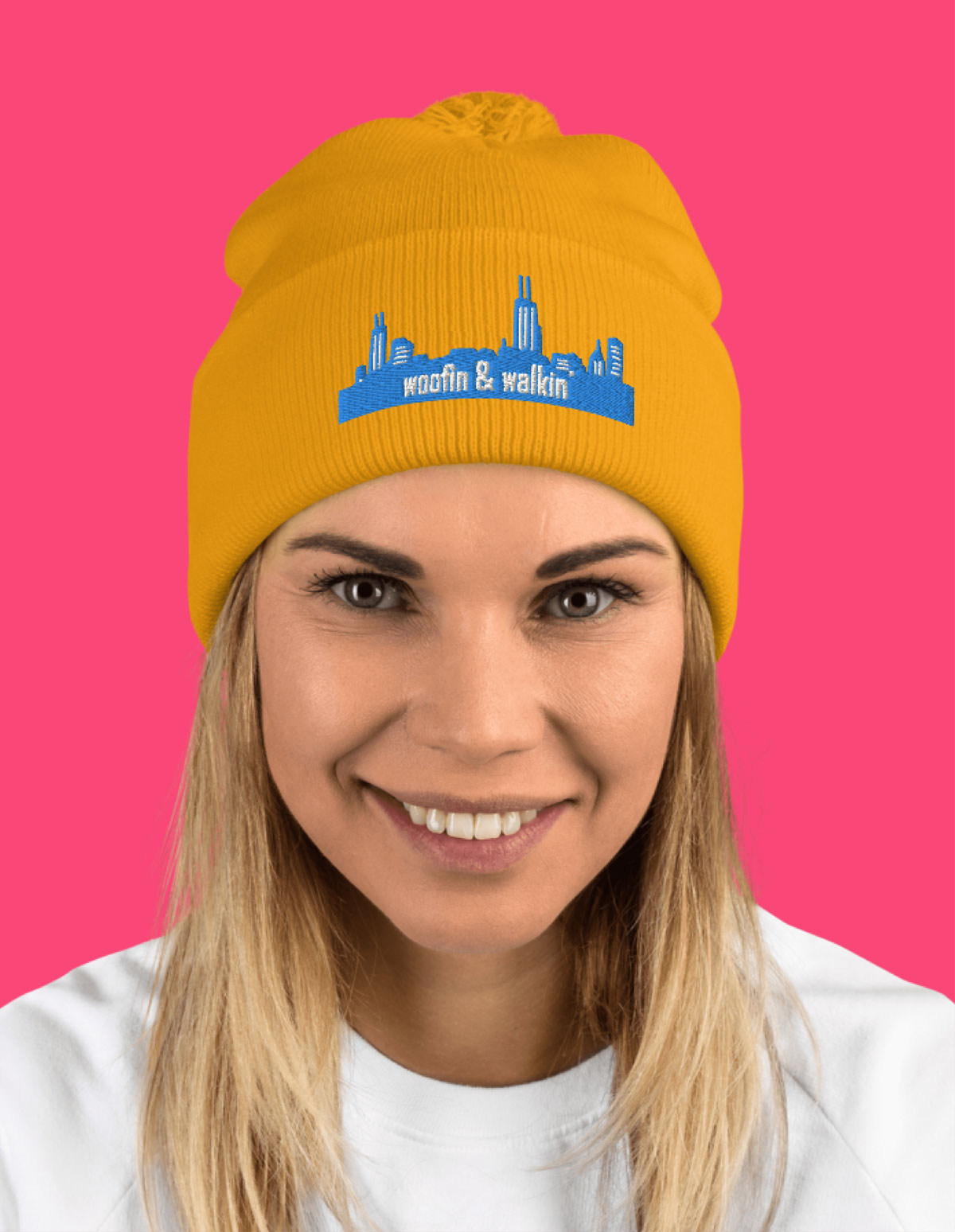 Woman wearing Chica Woof hat