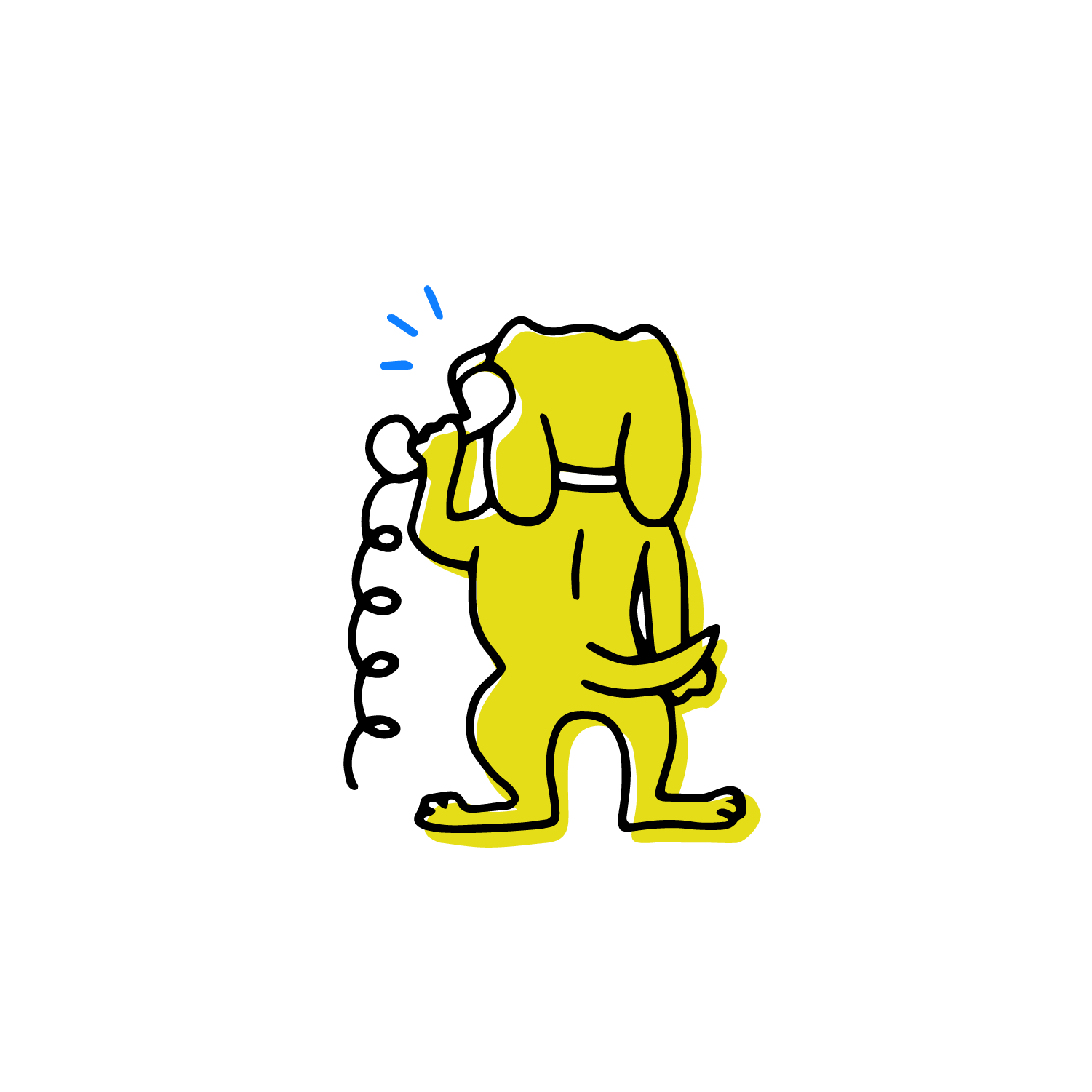 standing dog talking on the phone
