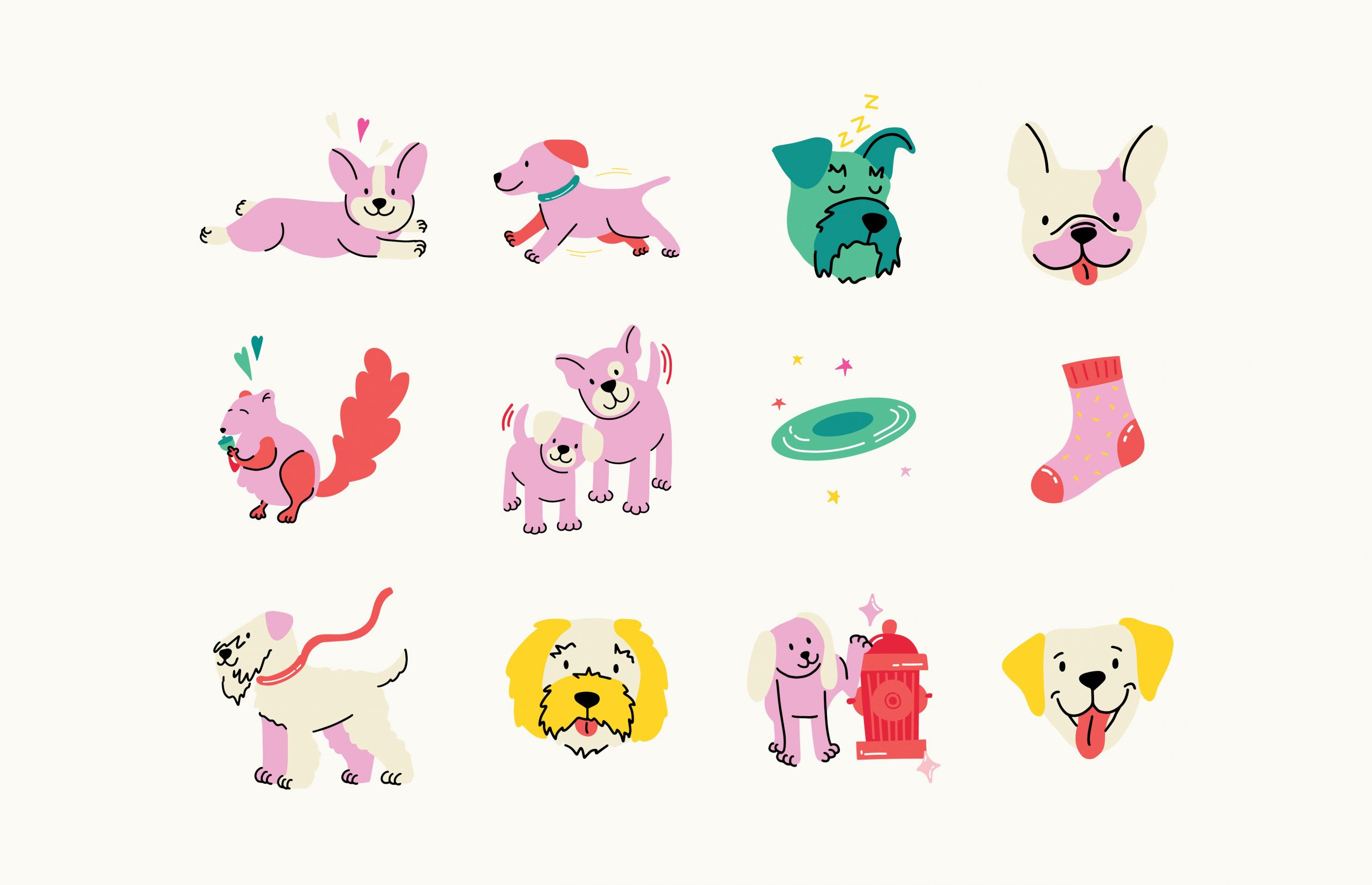 twelve pink dog icons