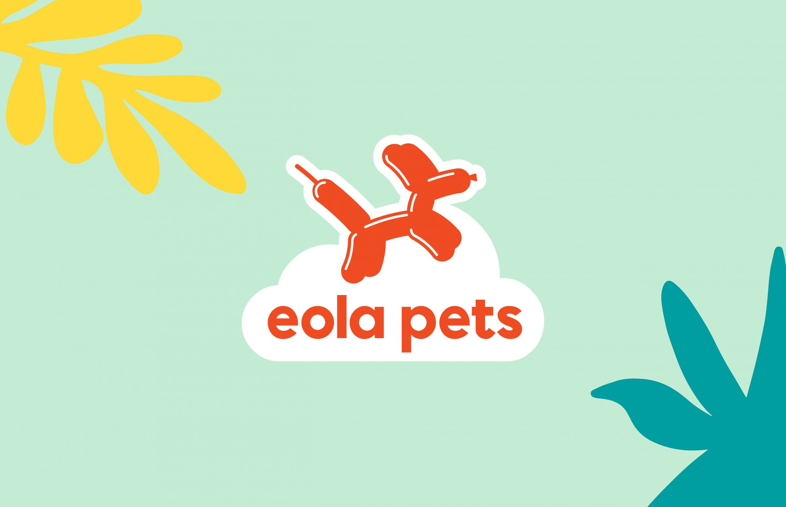 Eola Pets red logo with dog balloon