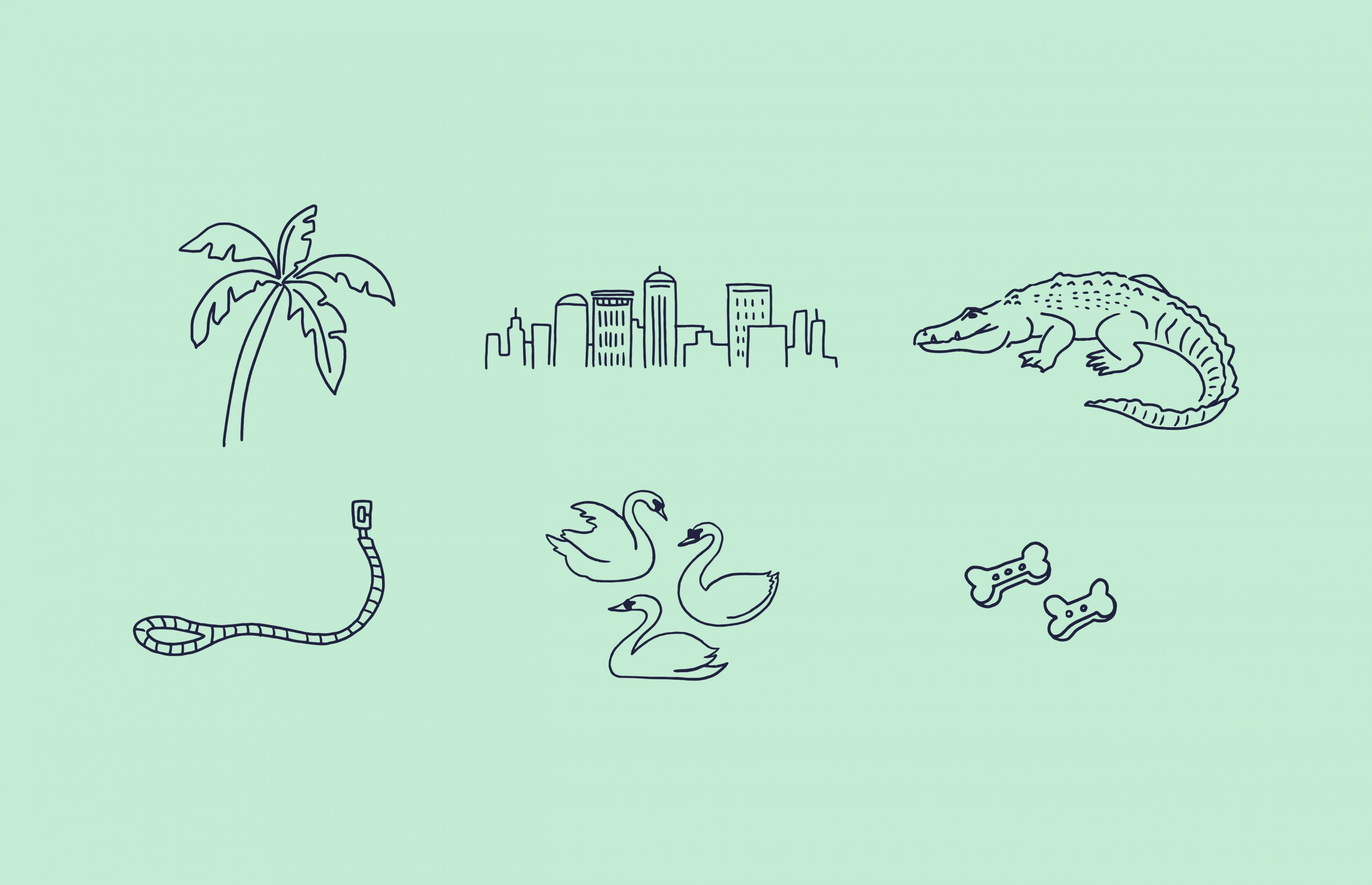 Palm icon, skyline icon, crocodile icon, leash icon, swan icon, bone icon