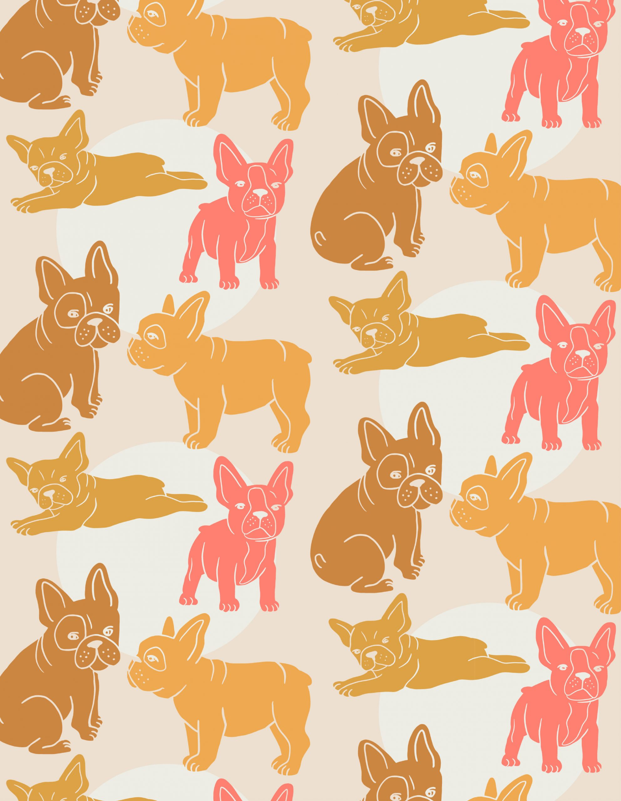 orange, yellow, pink bulldog illustration pattern