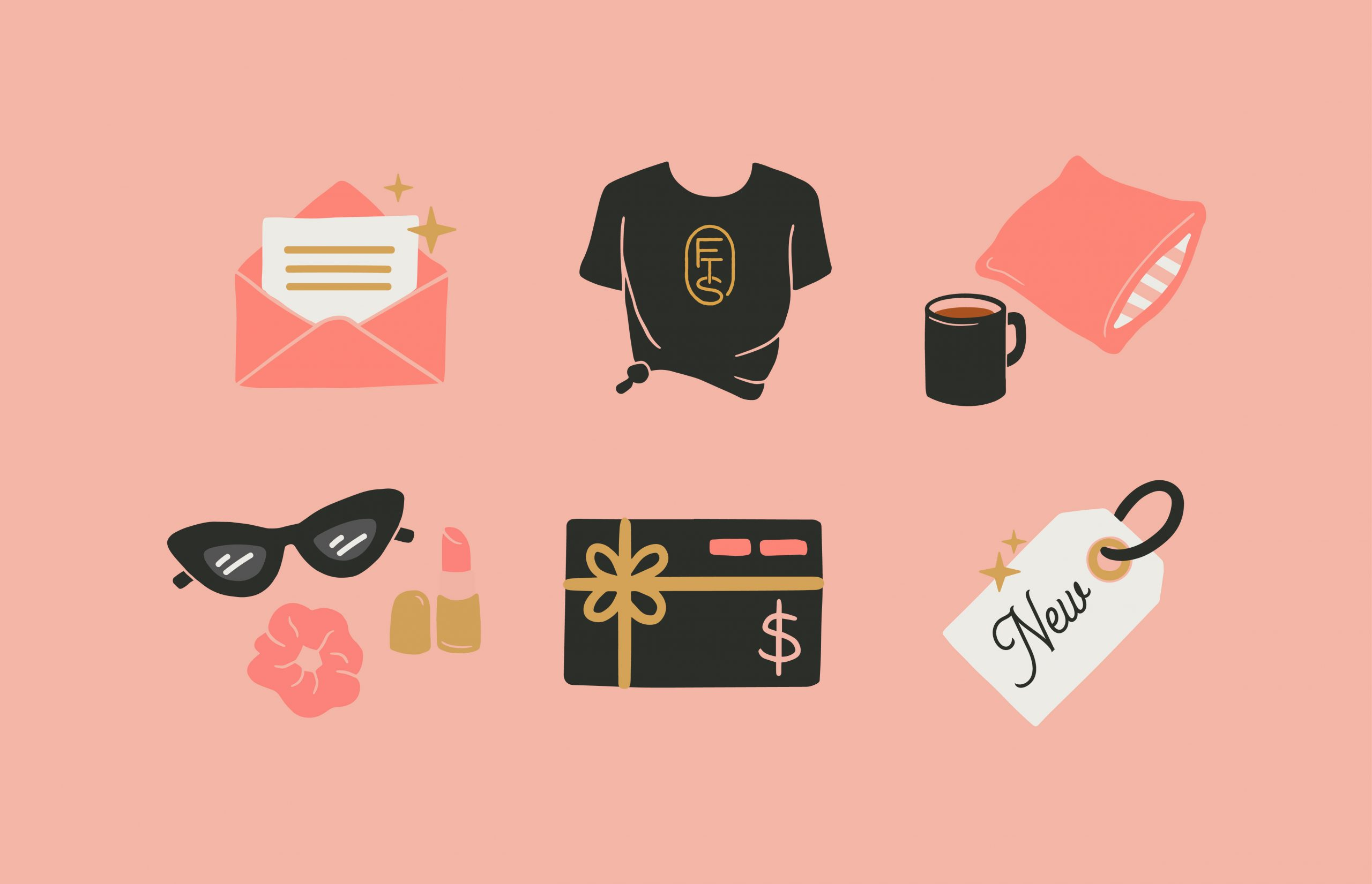 pink envelope icon, black tee shirt icon, pink pillow and black coffee mug icon, black sunglasses icon, black and pink gift card icon, white tag with New text icon