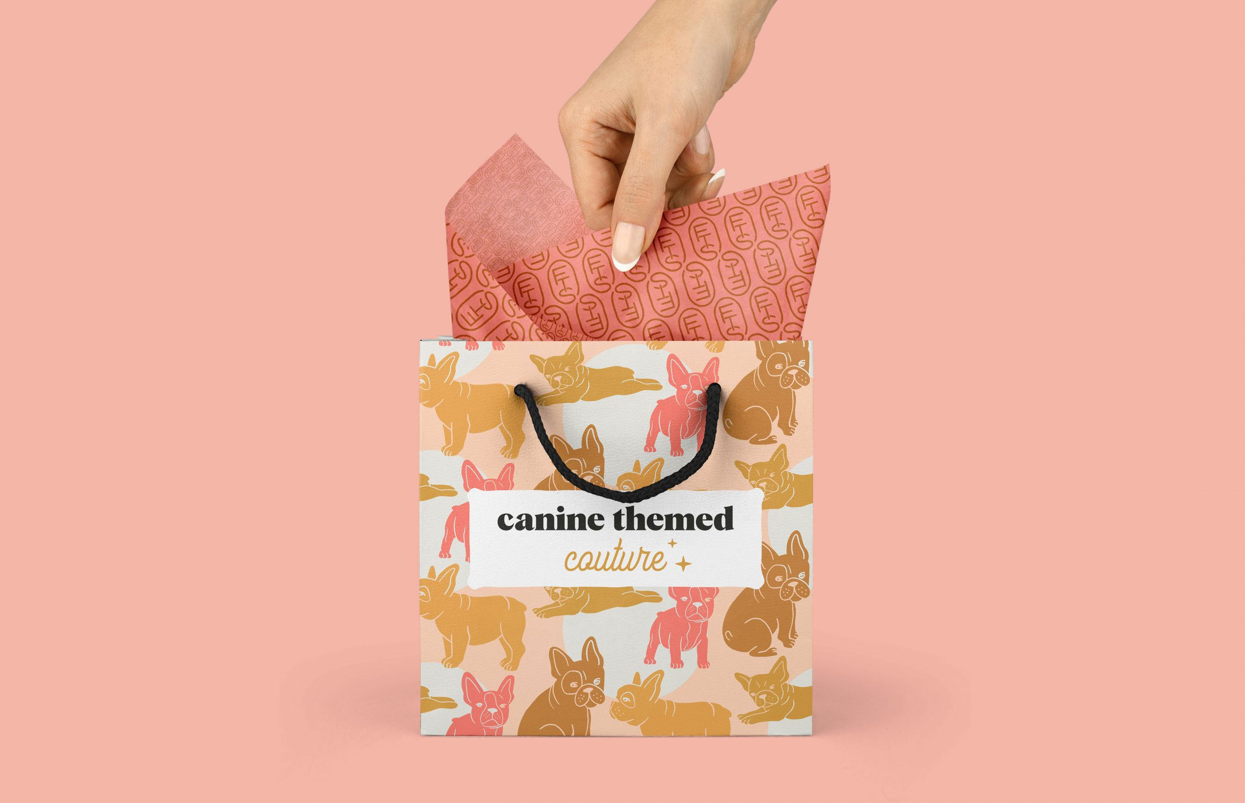 woman hand reaching into a bag titled canine themed couture