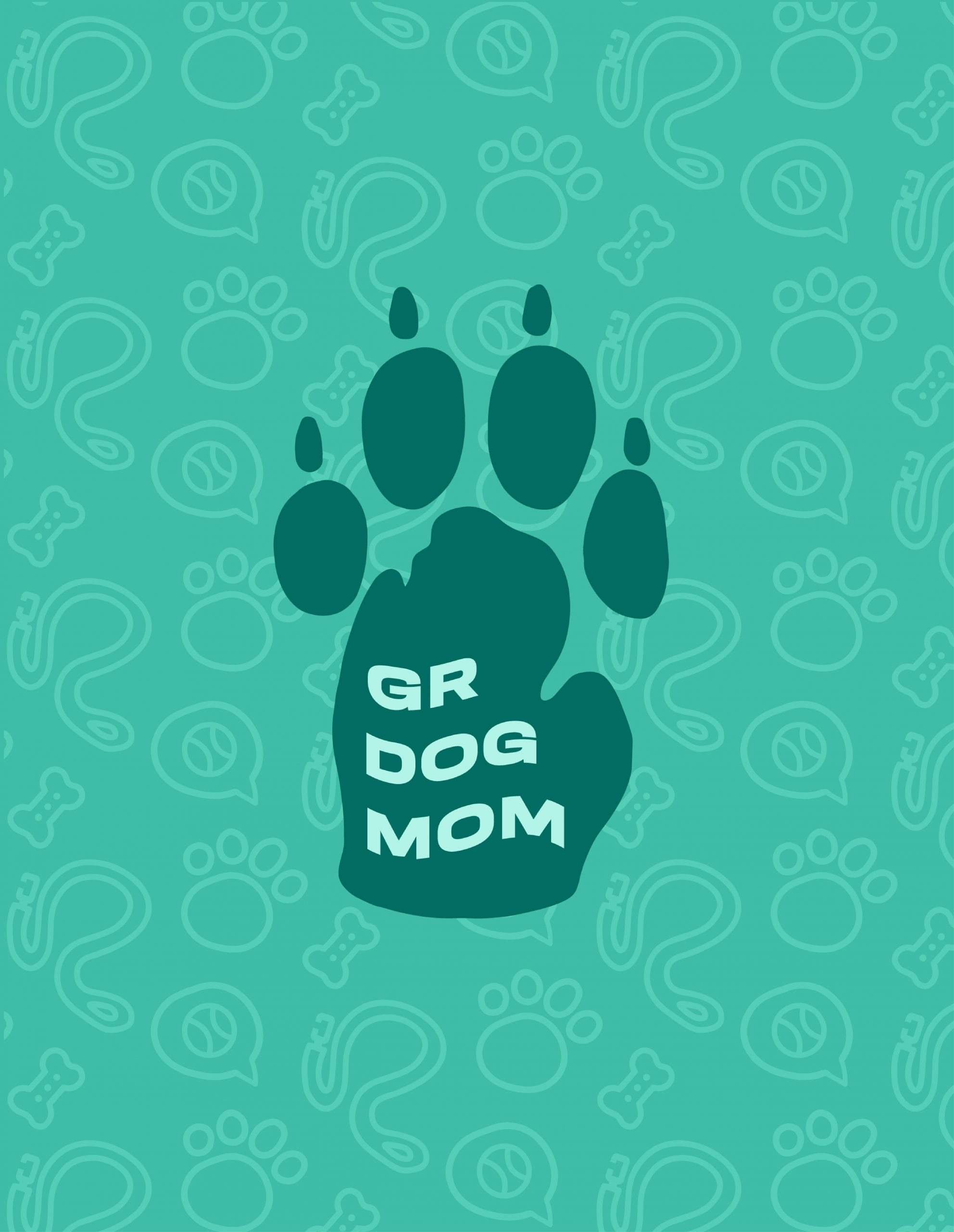 Green paw with text GR Dog Mom