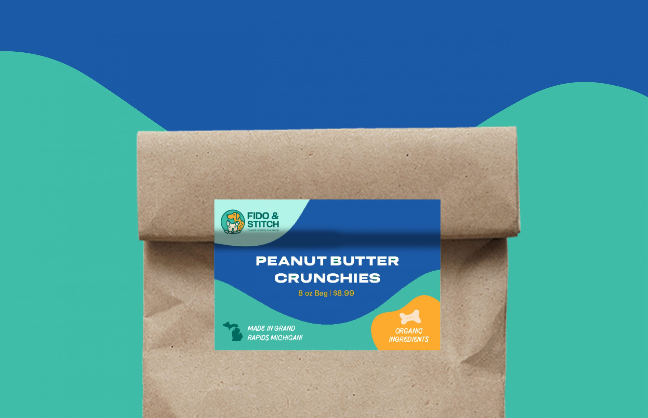 paper bag with peanut butter crunchies label