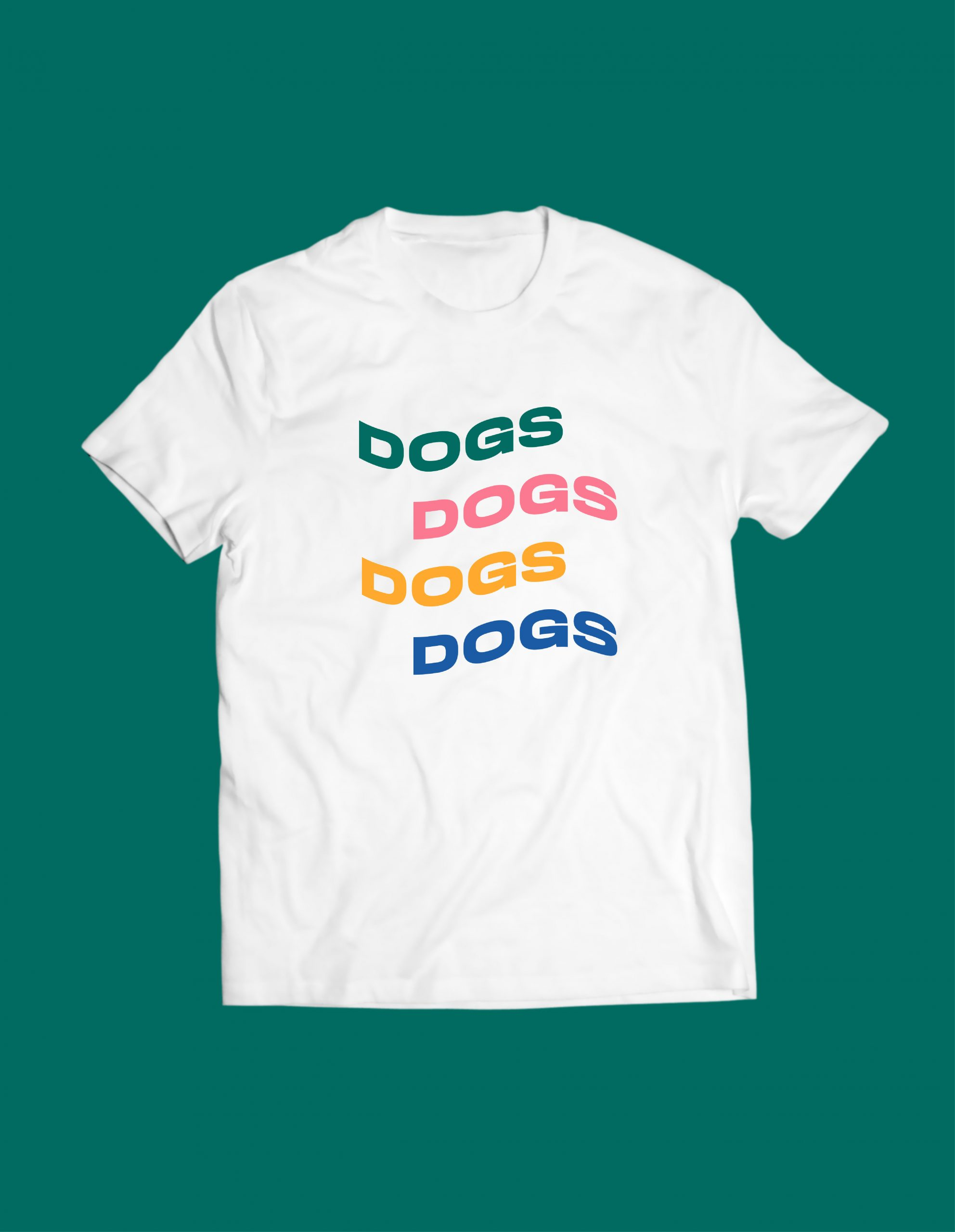 white tshirt with four colors of Dogs title