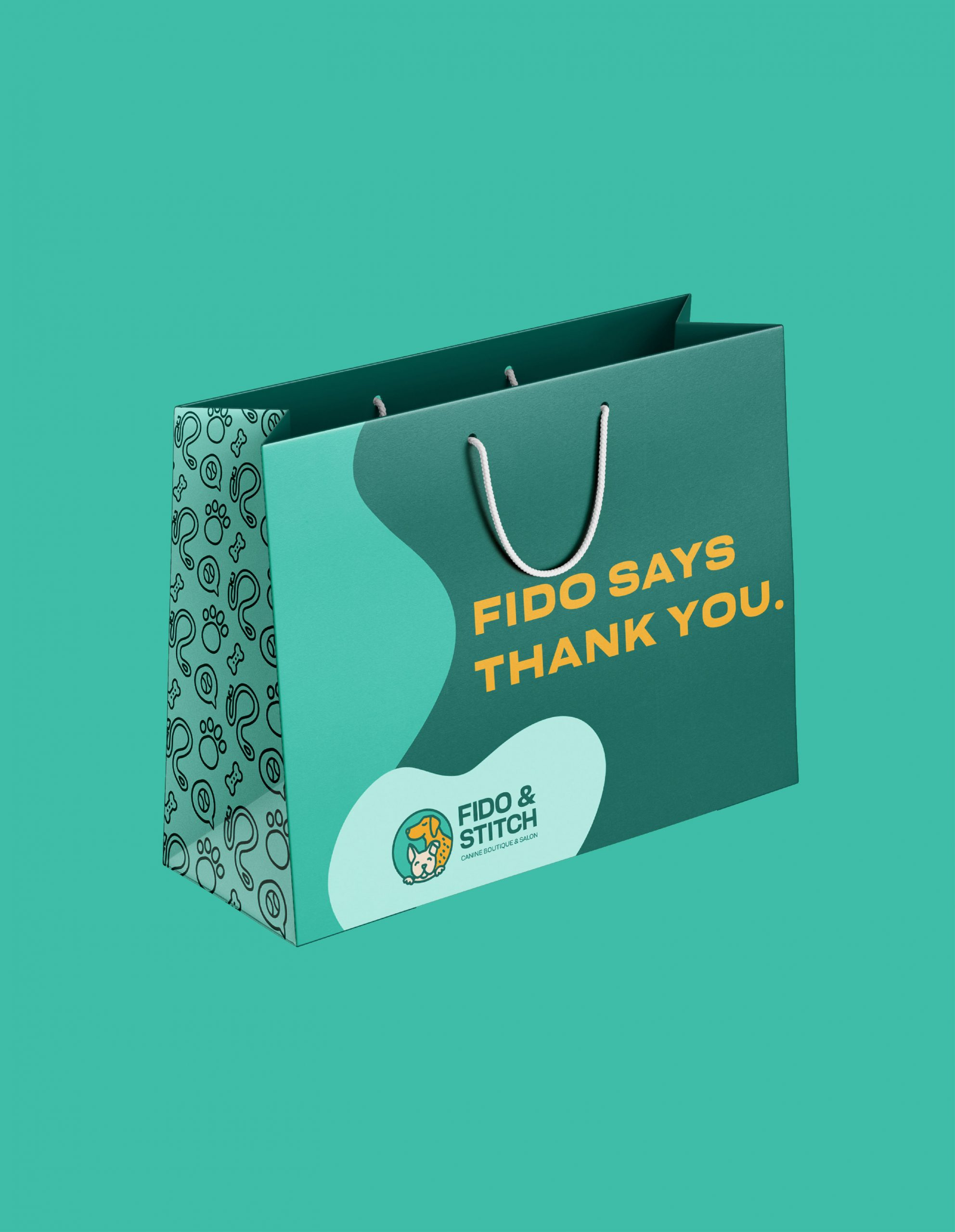 gift bag with text Fido thanks you