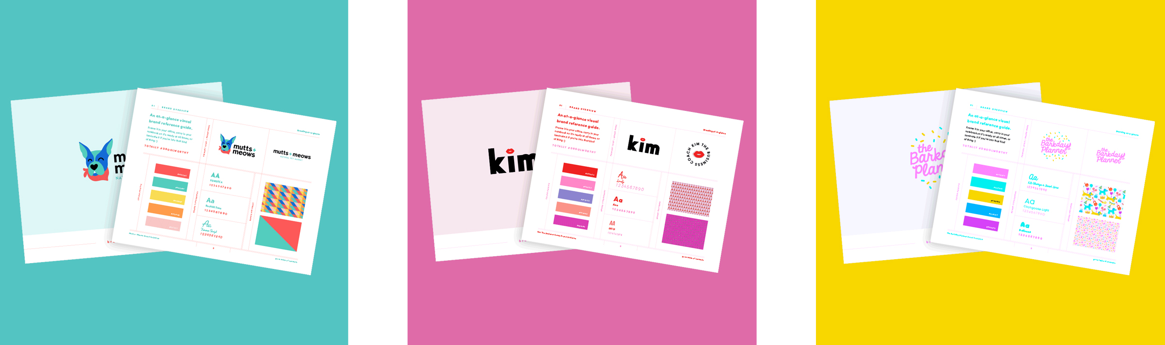 Three client brand guideline documents
