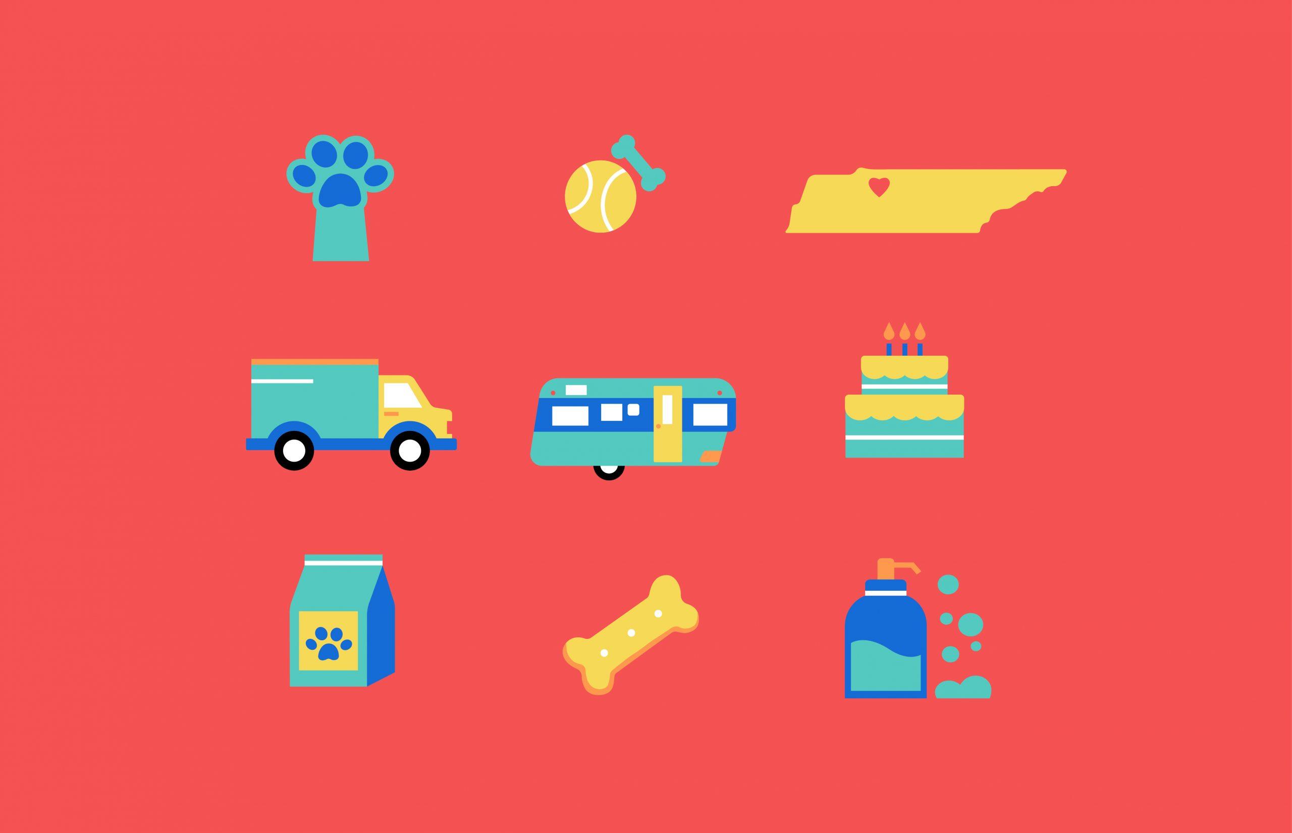 paw icon, pet toys icon, Tennessee icon, truck icon, trailer icon, cake icon, pet food icon, dog bone icon, soap icon