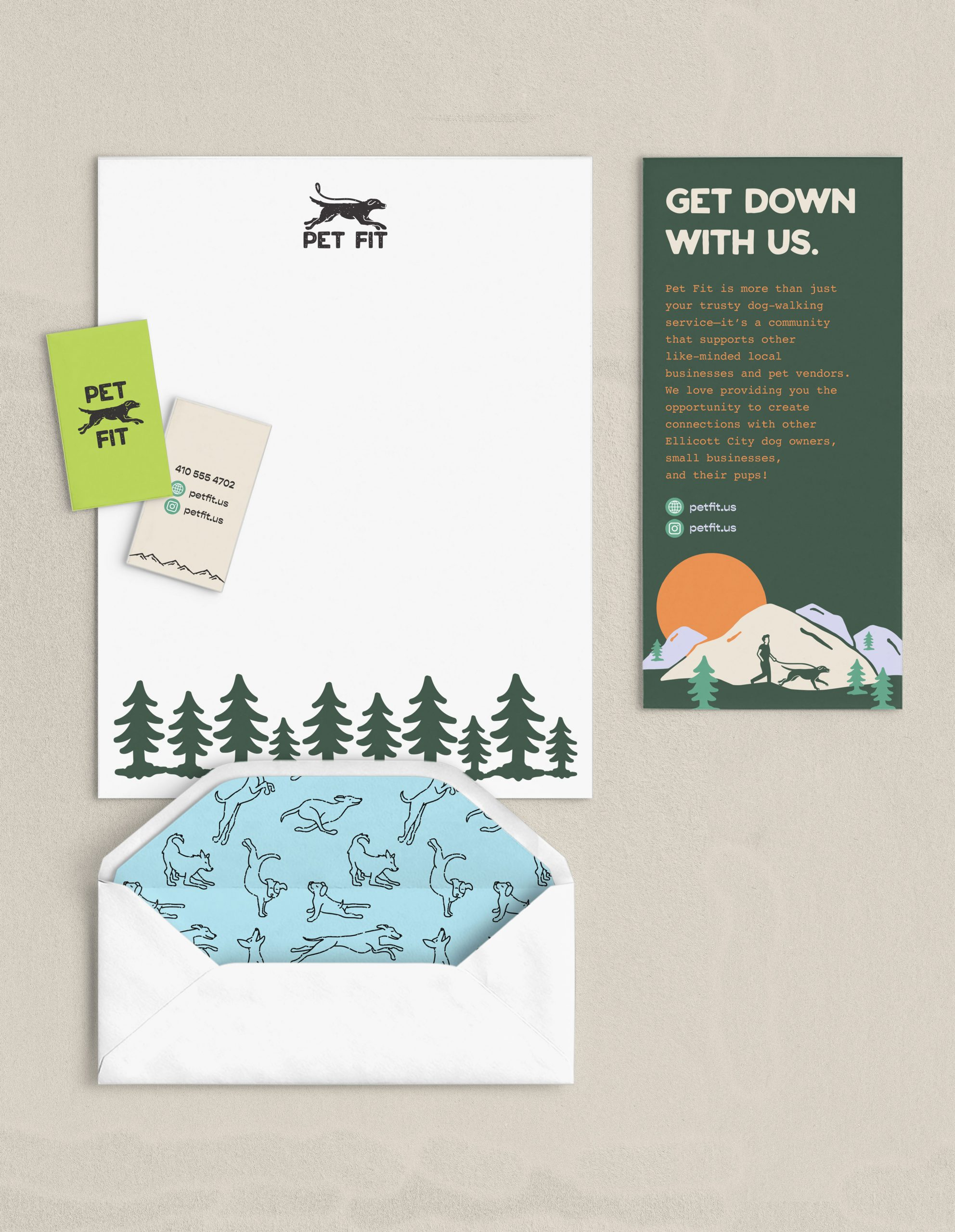 Pet Fit stationary, business card, envelope, brochure