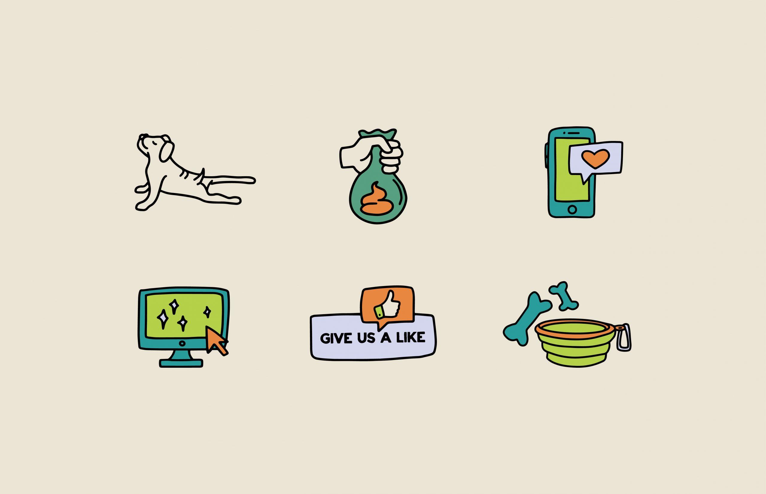 dog icon, bag icon, phone icon, computer icon, social media icon, dog bone icon